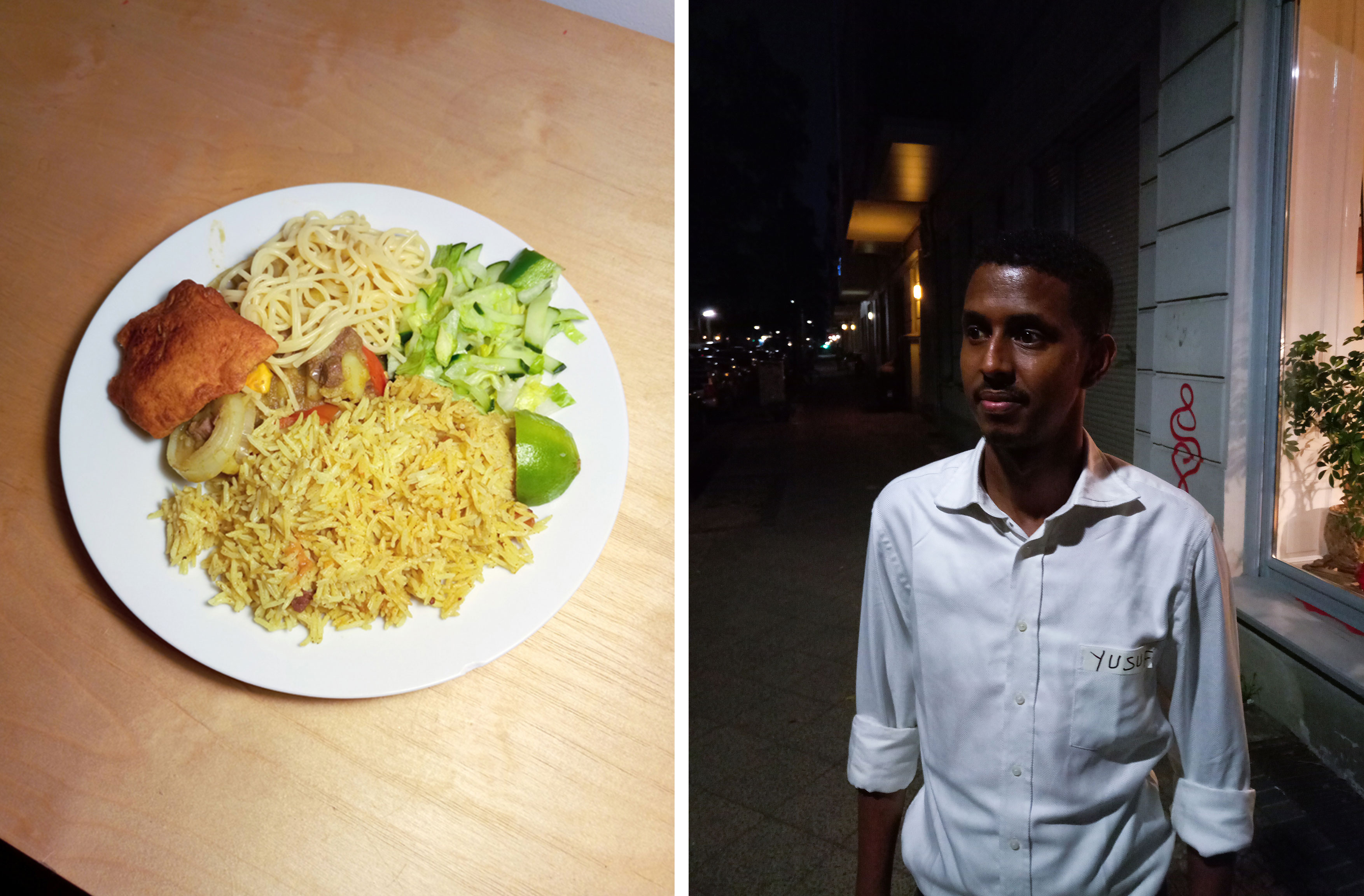 Our delicious dinner, and Yusuf.