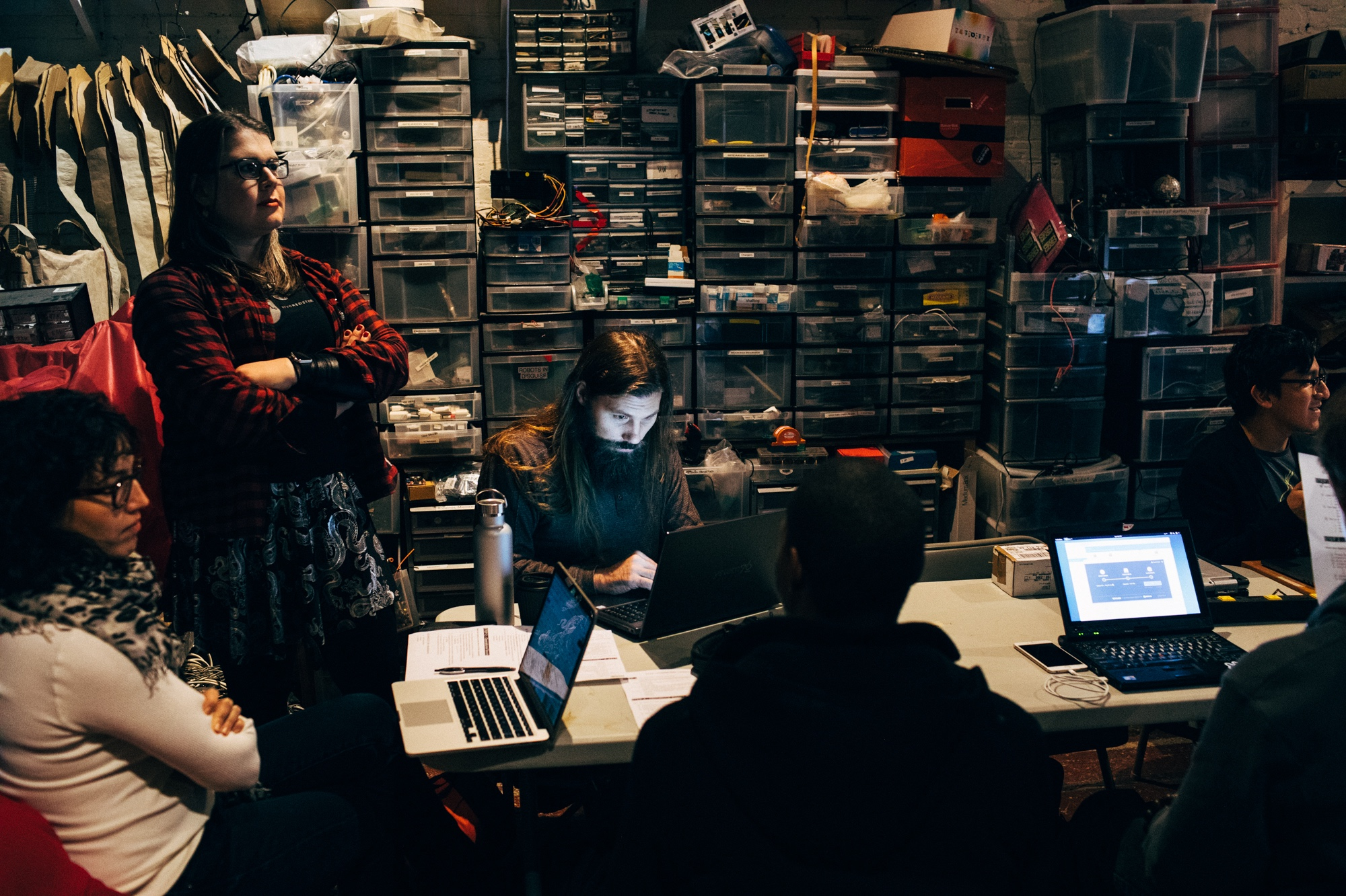 Hacker enthusiasts from all walks of life - researchers, journalists, everyday citizens gather at NYC Resistor, the home of New York's main CryptoParty chapter, to learn basic encryption skills that can be easily passed on and picked up by anyone.