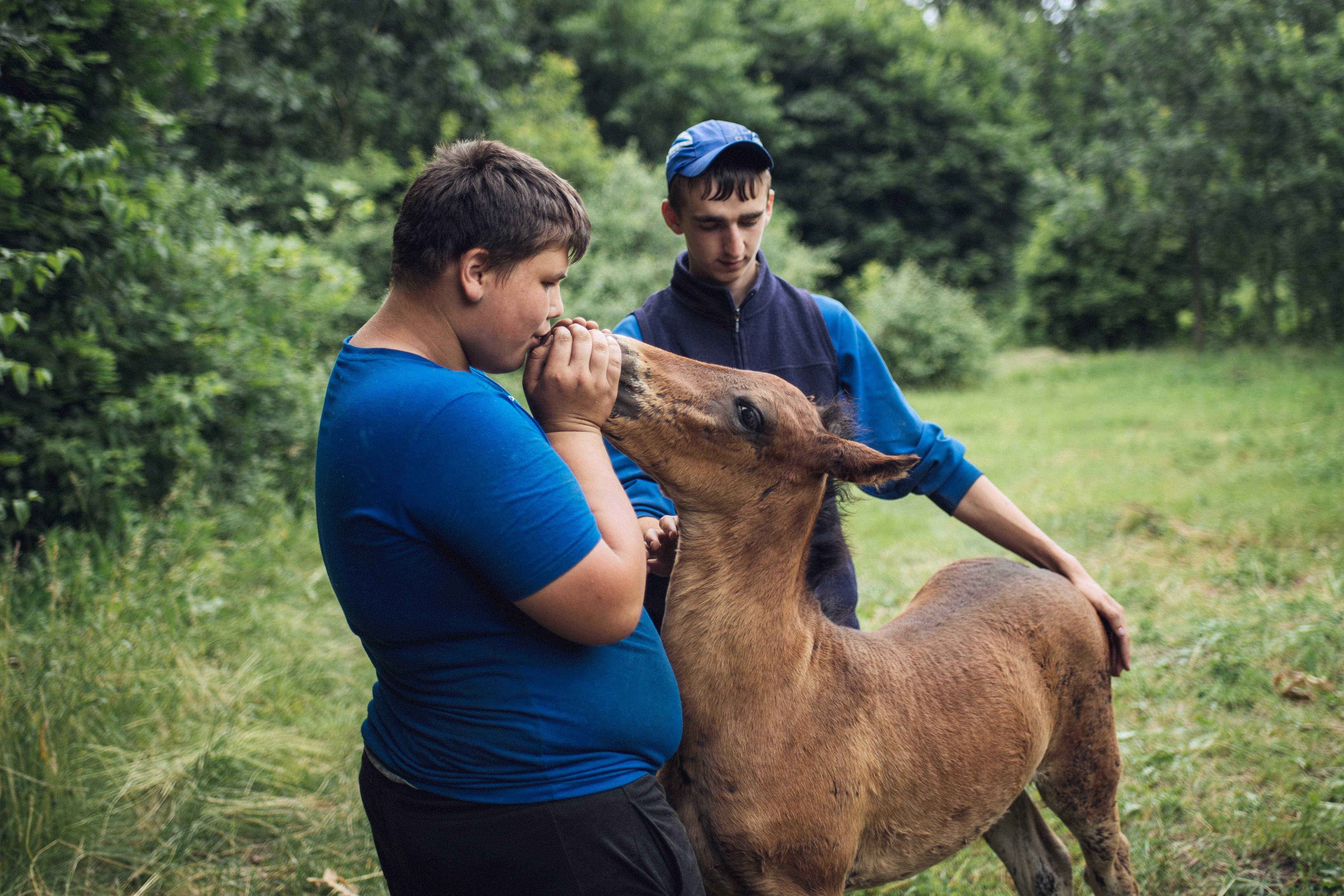 Maxim and Vasya embrace a newborn foal as it stands for the  rst time. In Rotar village, horses are considered key to country living – not just for farm work but as a means of transportation.