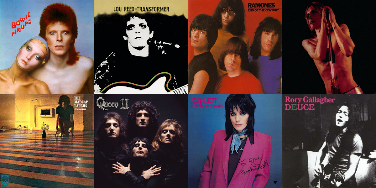 Just some of the album covers that Mick Rock has shot.