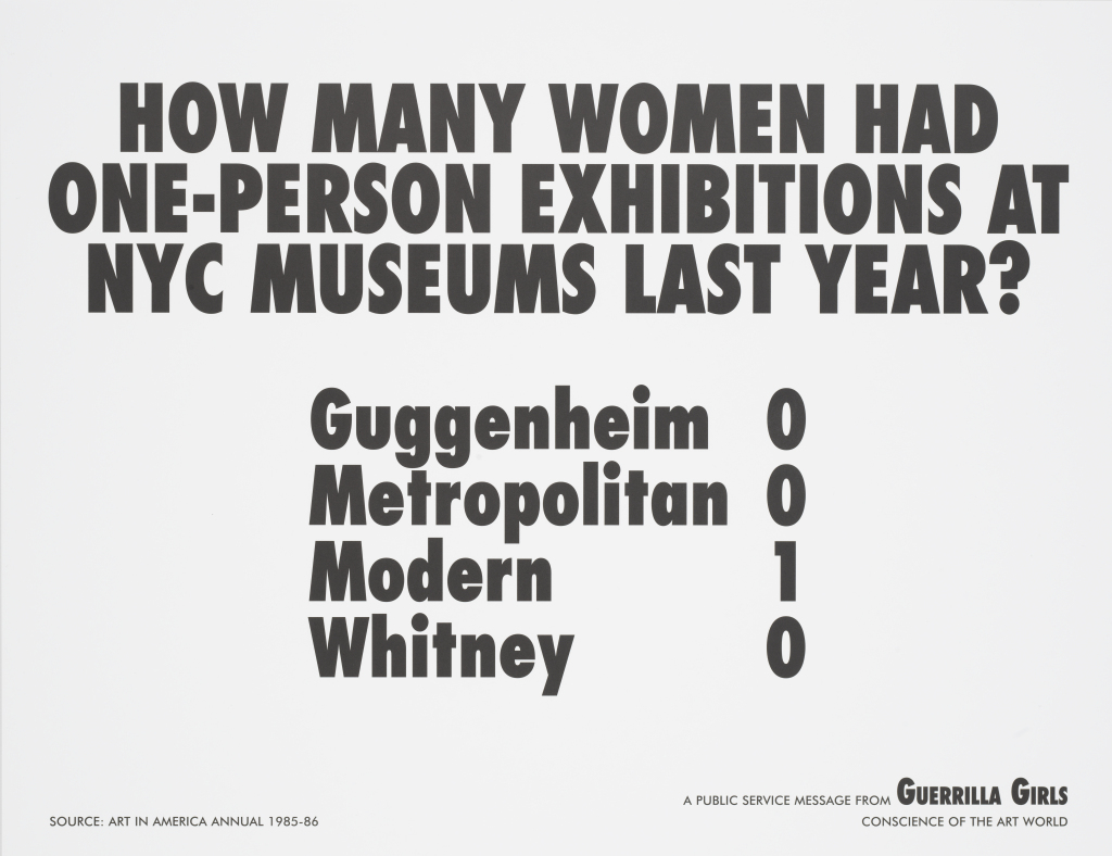 How Many Women Had One-Person Exhibitions at NYC Museums Last Year?, 1985, Guerrilla Girls. Courtesy the Whitney.
