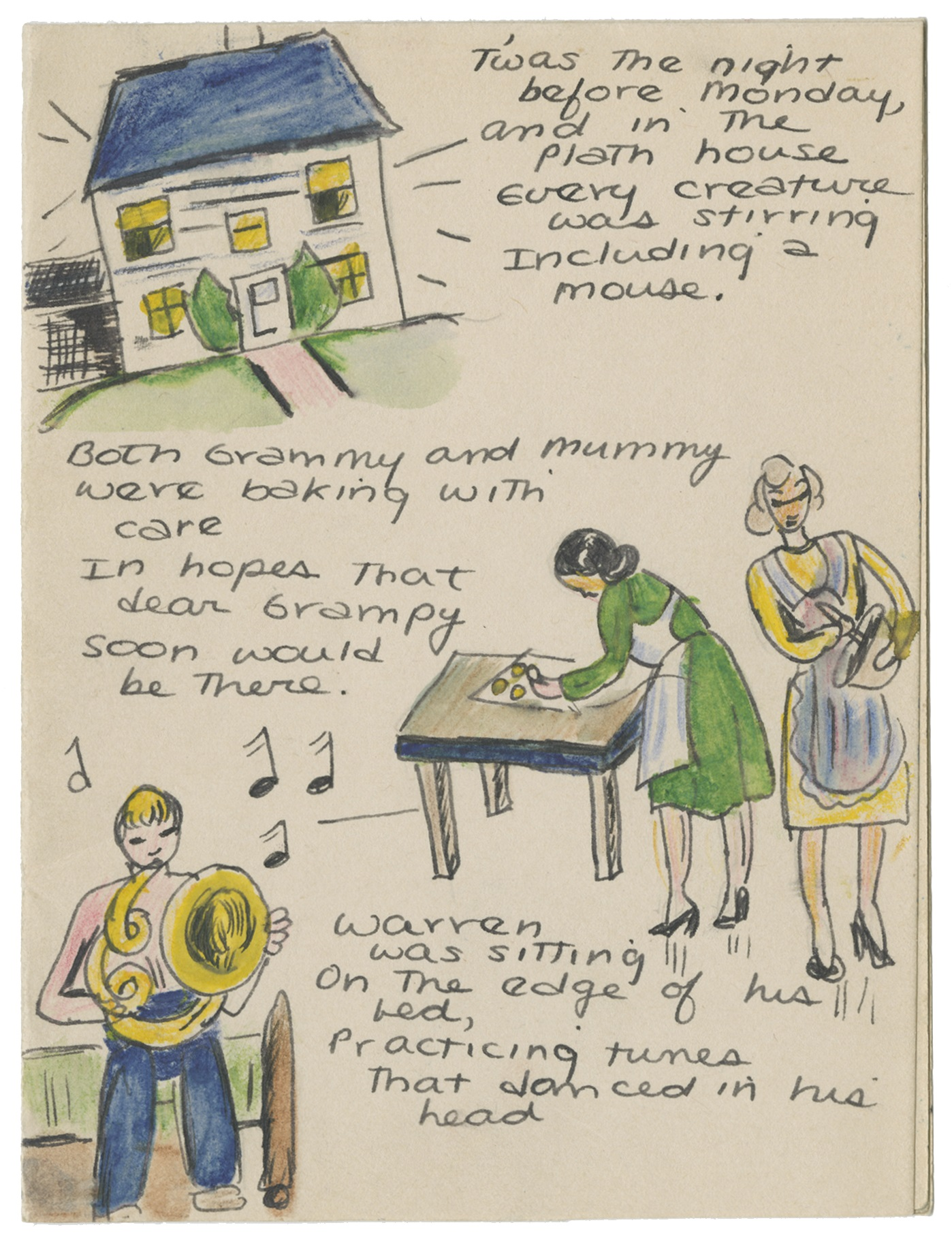 """""""Twas the Night Before Monday""""by Sylvia Plath. Courtesy The Lilly Library, Indiana University, Bloomington, Indiana. © Estate of Sylvia Plath"""