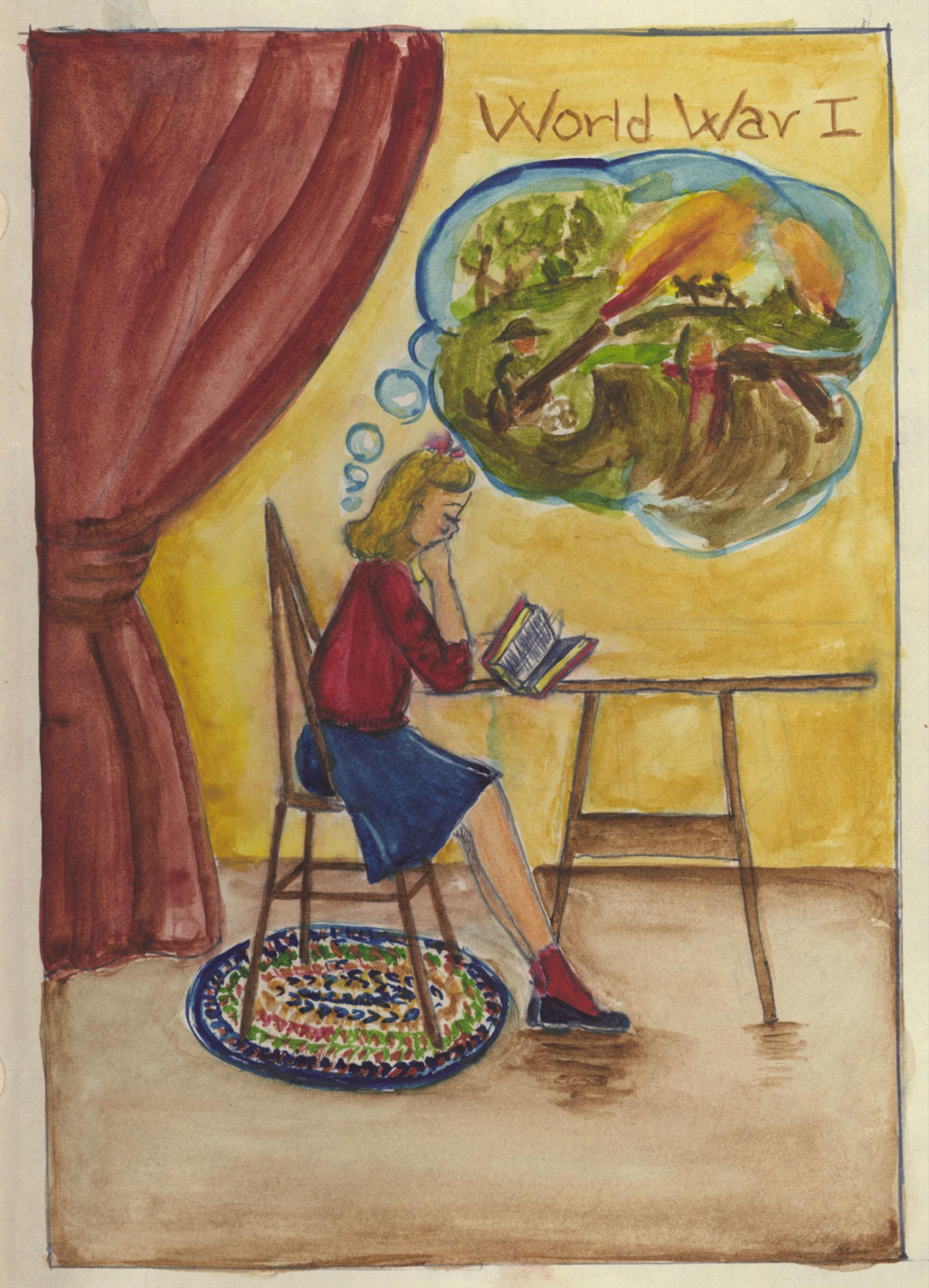 """A War to End Wars"" Self-Portraitby Sylvia Plath. Courtesy Mortimer Rare Book Collection, Smith College, Northampton, Massachusetts, ©Estate of Sylvia Plath"