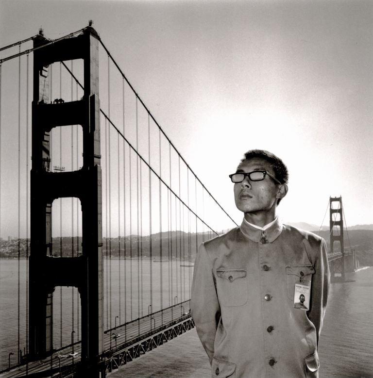 "Tseng Kwong Chi, ""San Francisco, California (Golden Gate Bridge)"", 1979. Courtesy of MOCA Taipei."