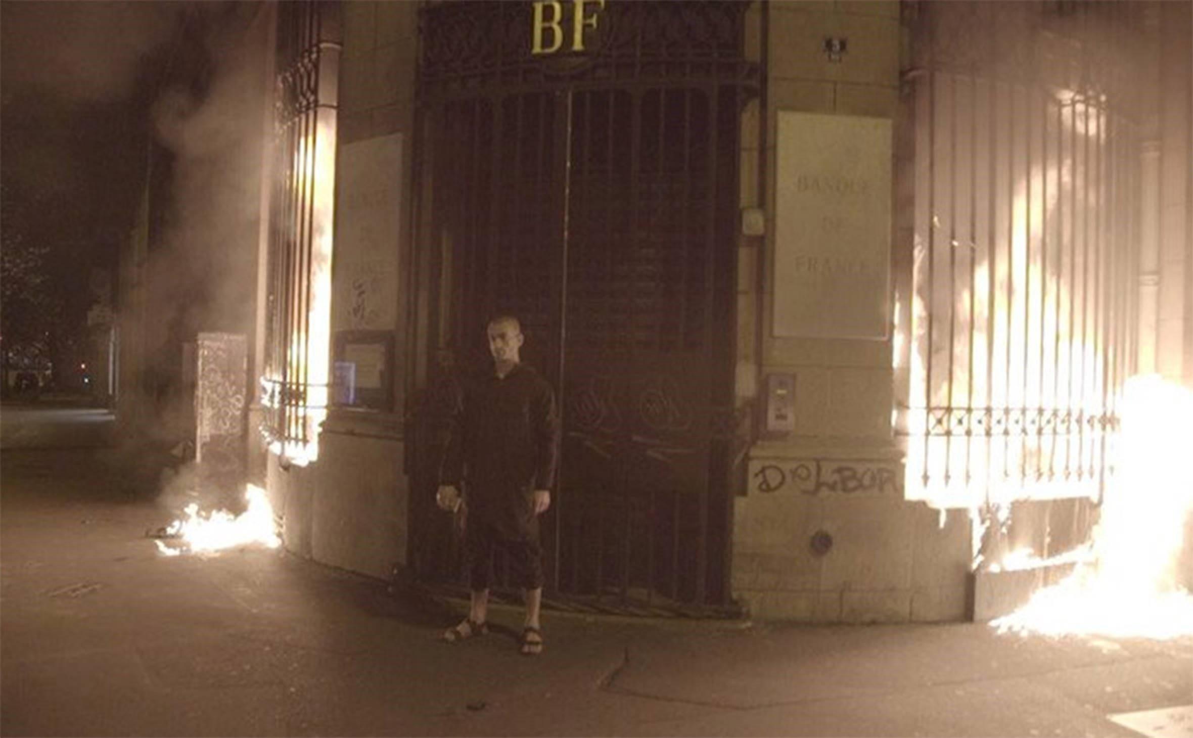 Petr Pavlensky in front of the Banque De France