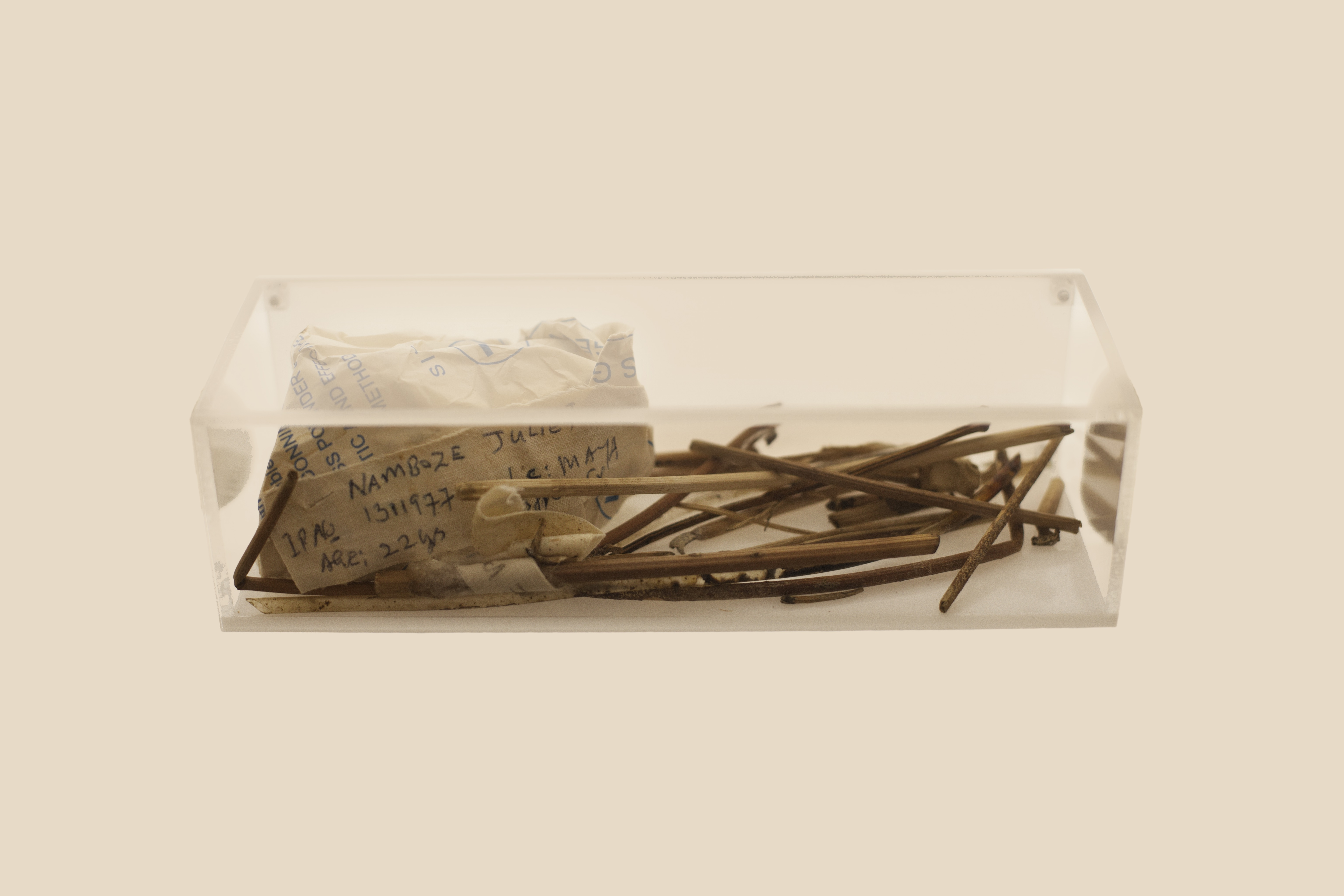 Artefacts used during an illegal abortion in Uganda, 2002.