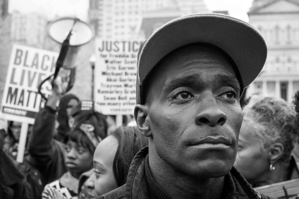 'I can't believe' Photo by Michael A. McCoy. Freddie Gray Protest, Baltimore, MD, 2015