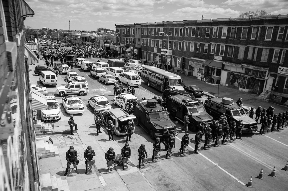 'Standoff' Photo by Michael A. McCoy. Baltimore Uprising, Baltimore, MD, 2015.