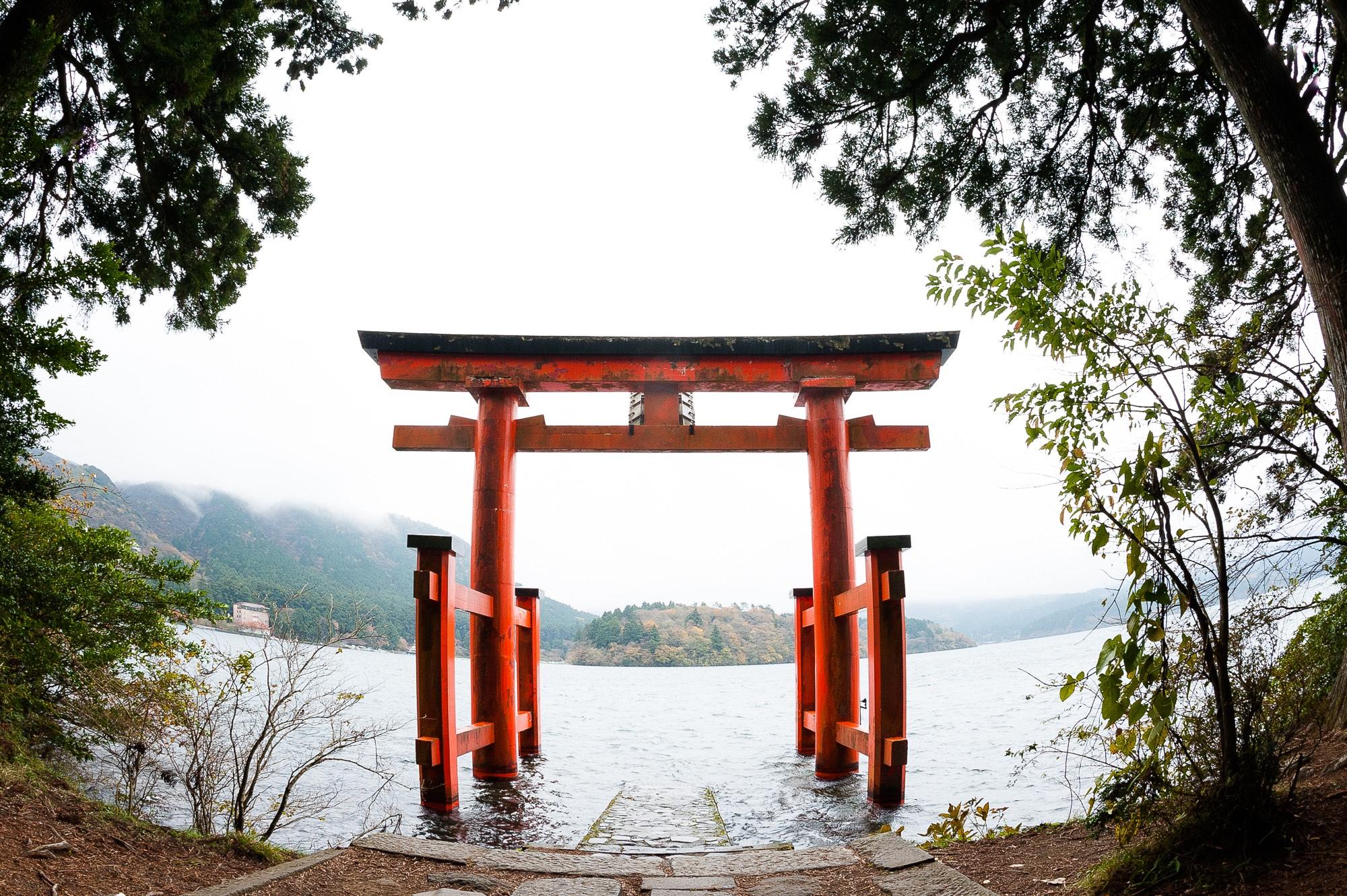 Hakone Shrine entrance at Lake Ashi, Kanagawa.