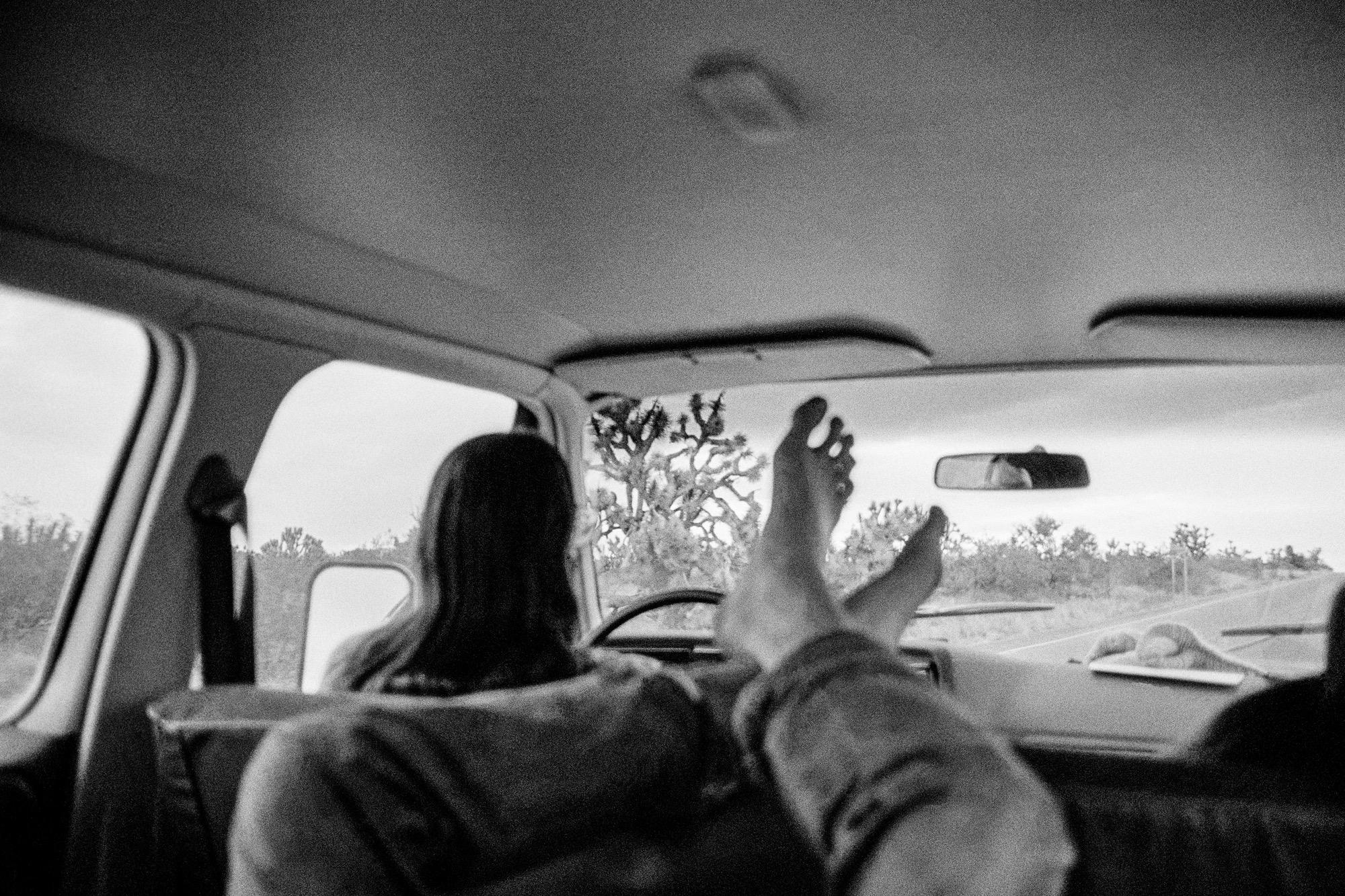 On the road from California to Arizona via Joshua Tree Forest. 1979.