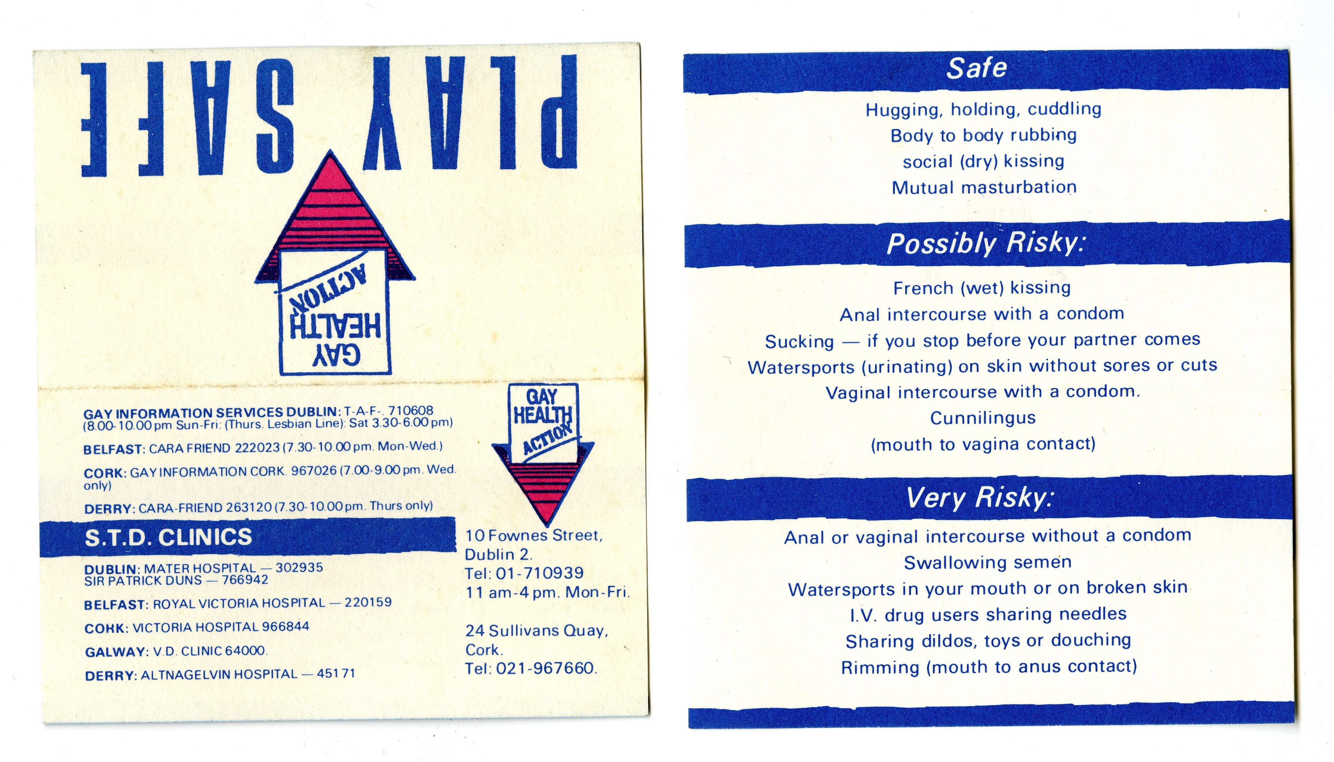 Play Safe cards. Courtesy Orla Egan, Cork LGBT Archive