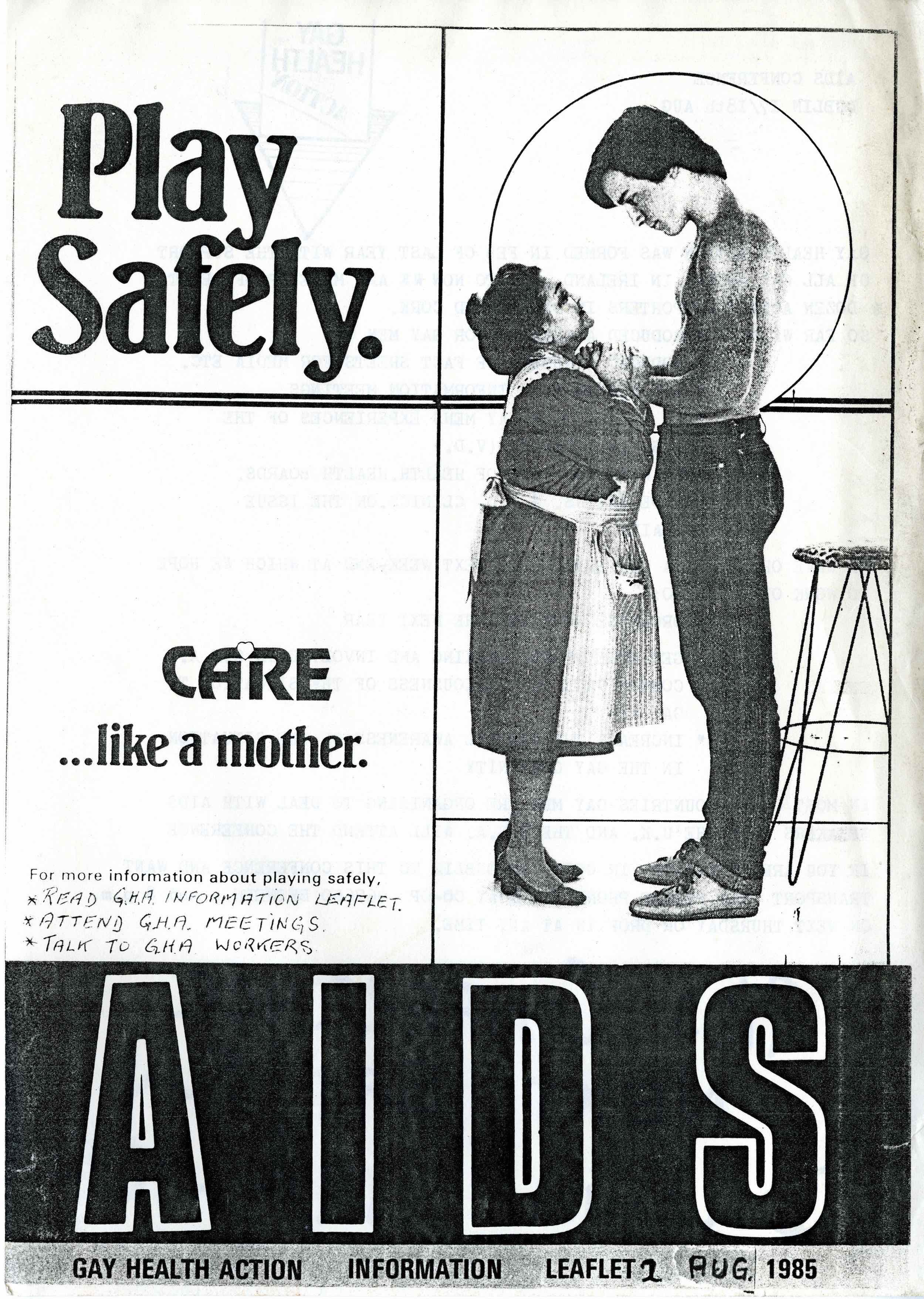 Gay Health Action Leaflet No 2, Play Safely. Courtesy Orla Egan, Cork LGBT Archive.