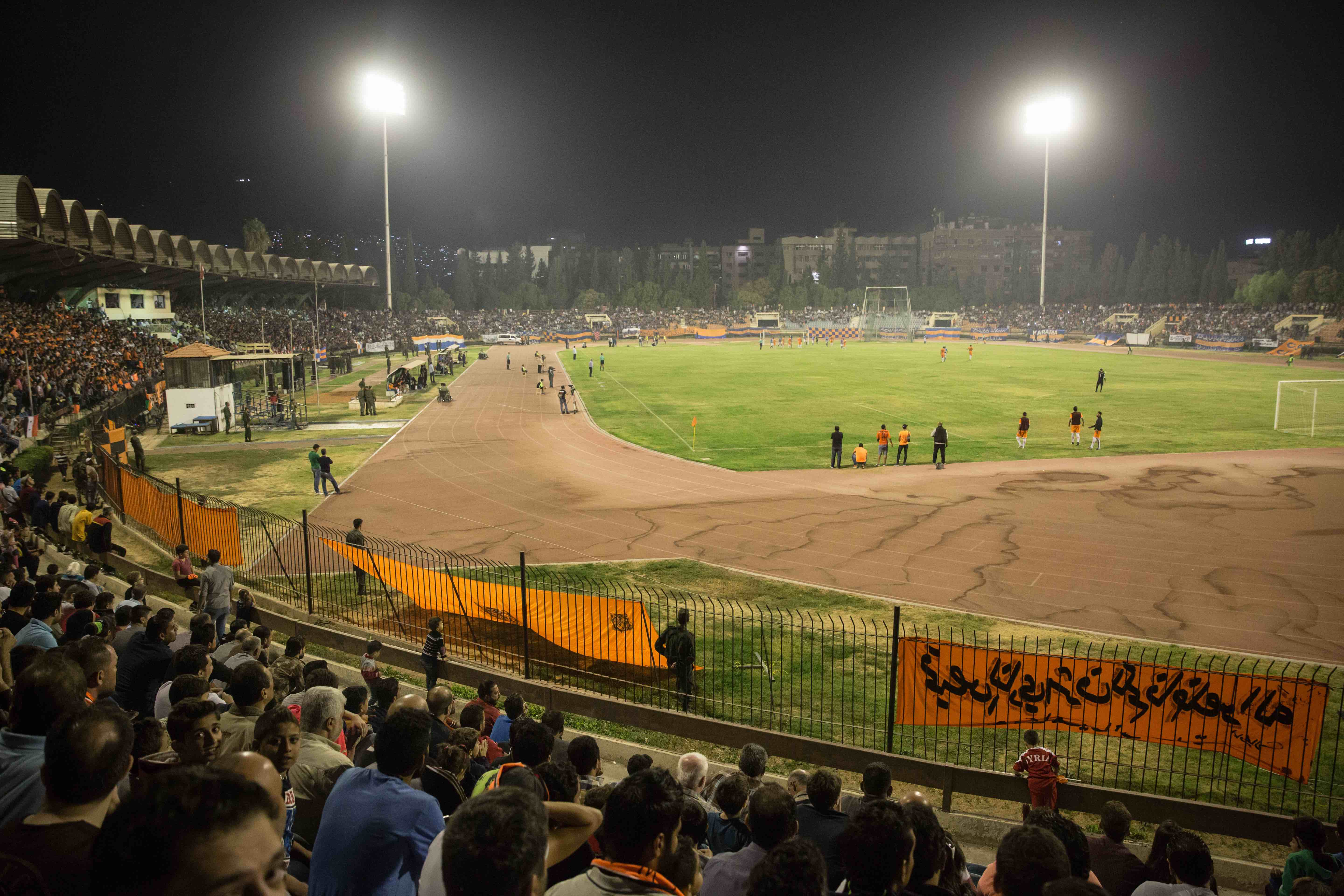 Al-Wahda from Damascus and Al-Karamah from Homs play in Tishreen Stadium in the Syrian Cup Final, October 2017.