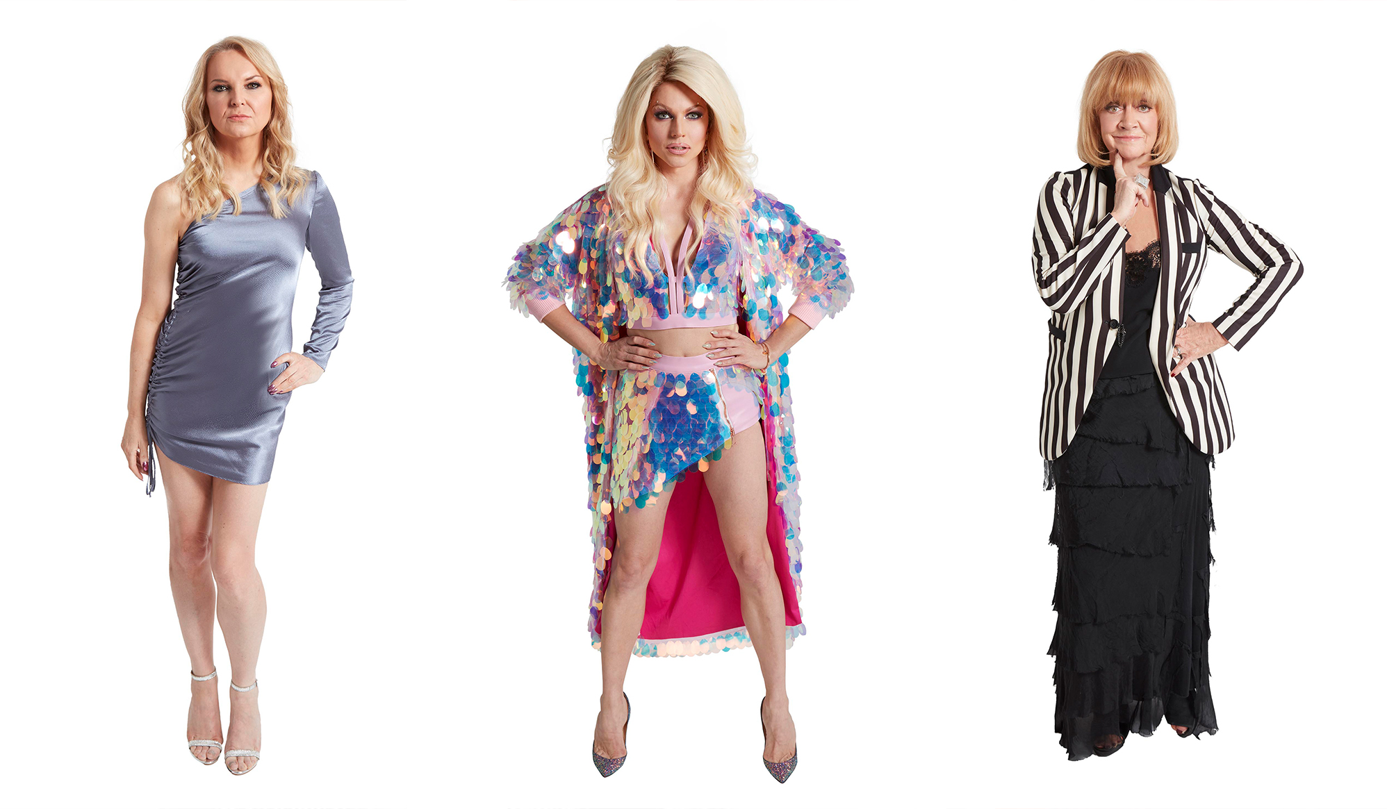 Left to right: India Willoughby, ,Courtney Act, Amanda Barrie