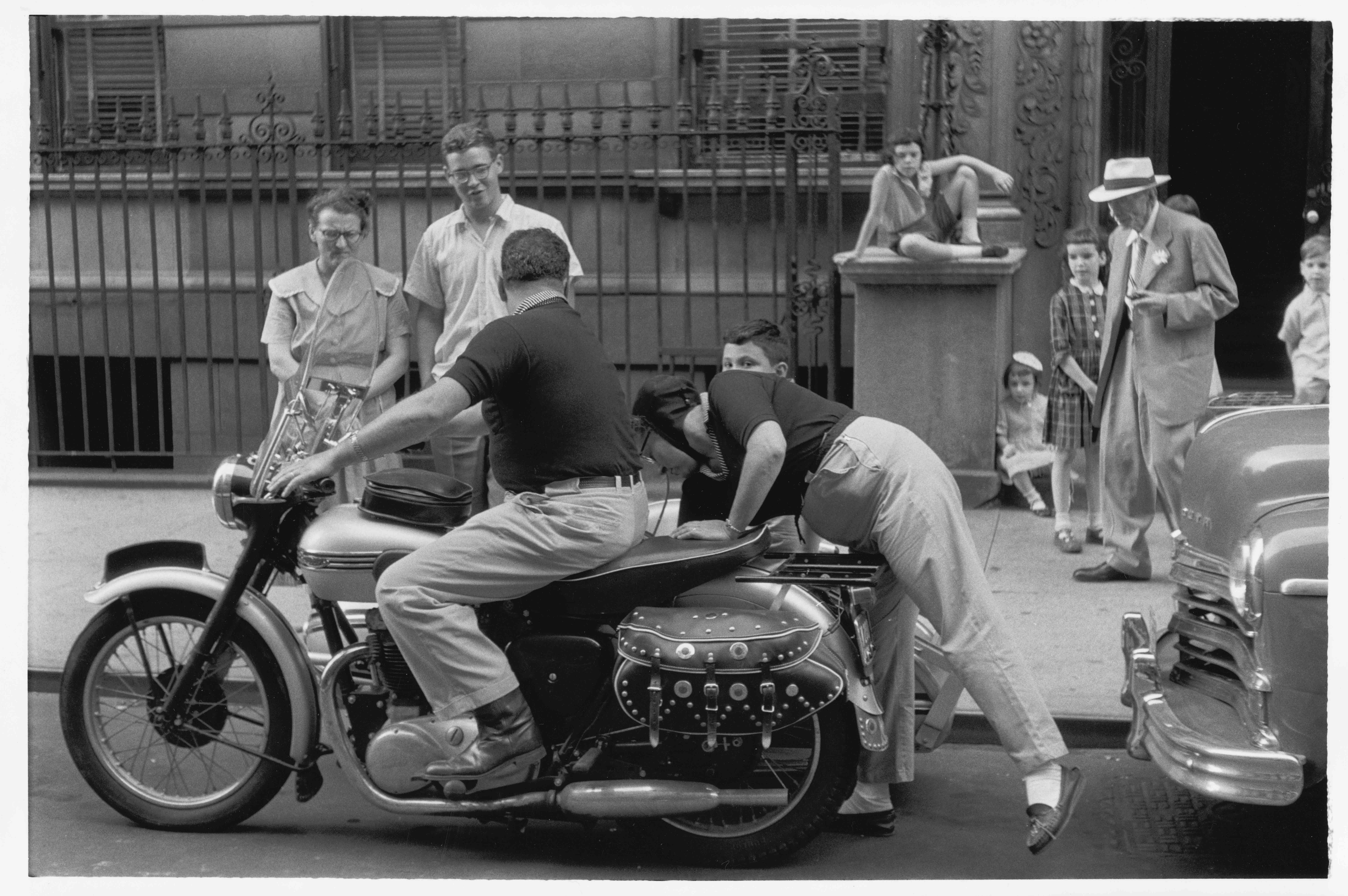 Vermont family on a motorcycle, 1957