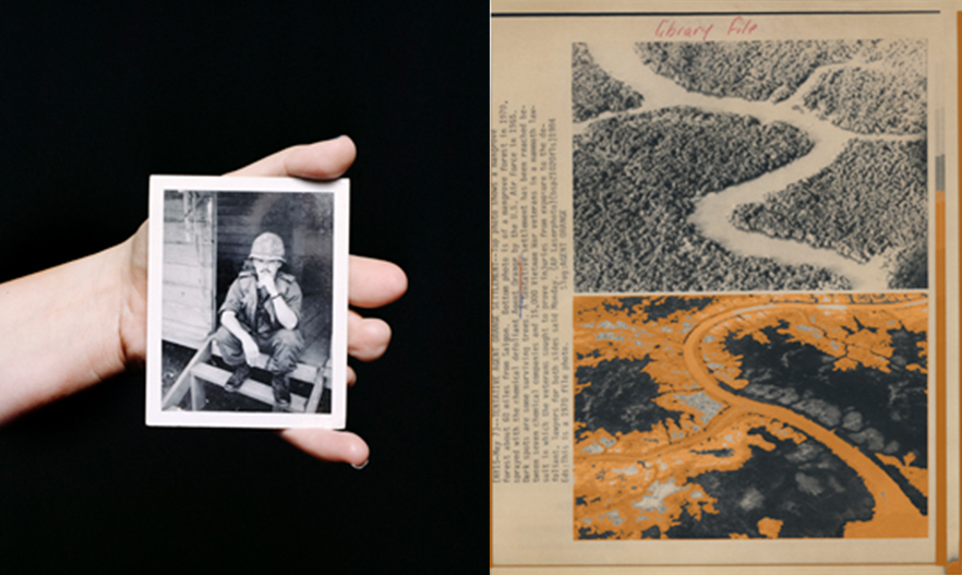Left: Heather Bowser holds a photograph of her father, Morris, who served in Vietnam areas sprayed with Agent Orange. Photo by Mathieu Asselin. Right: Archival material. © US Herbicide Assessment Commission. Photographic intervention by Mathieu Asselin.