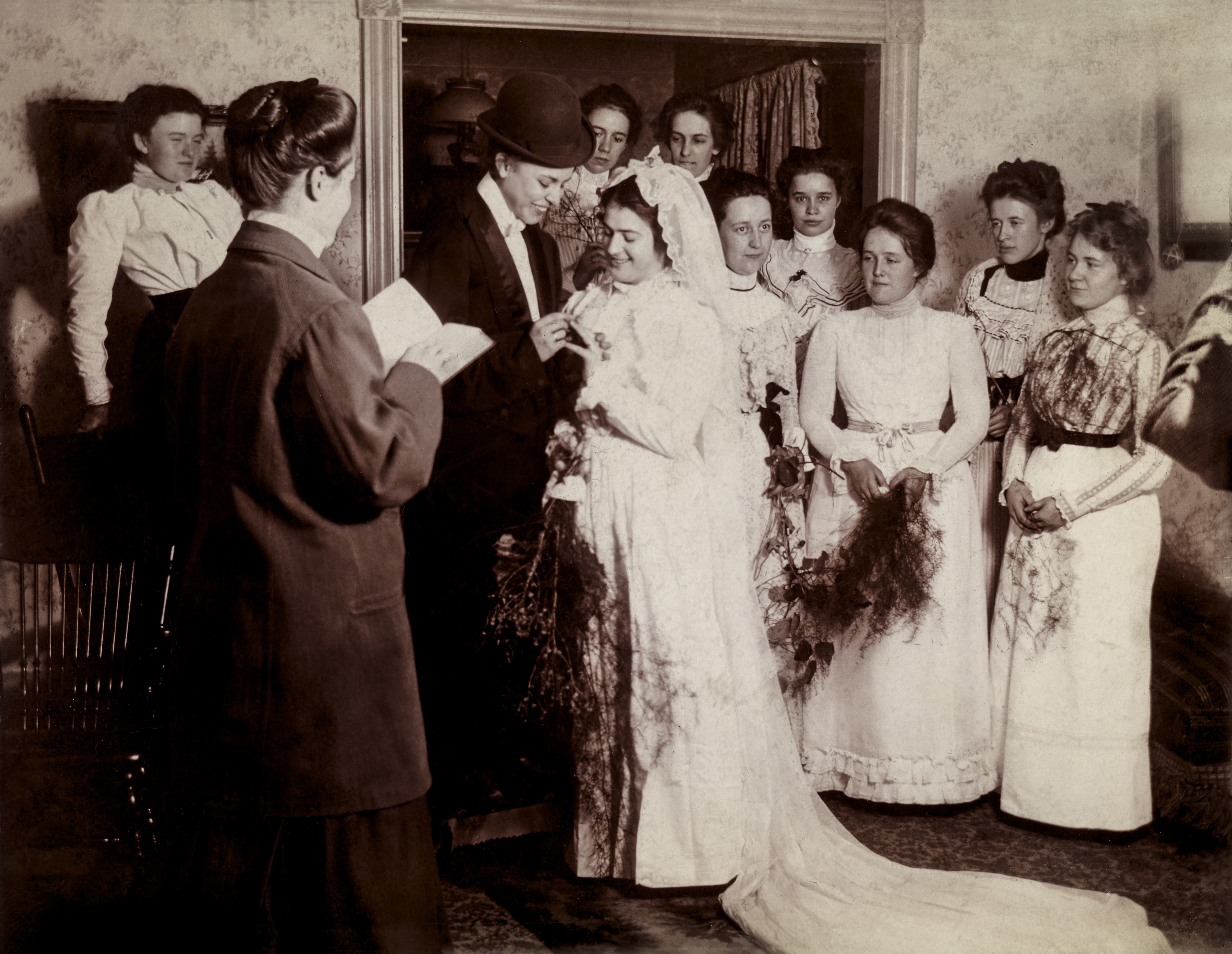 Mock wedding, United States, circa 1900.