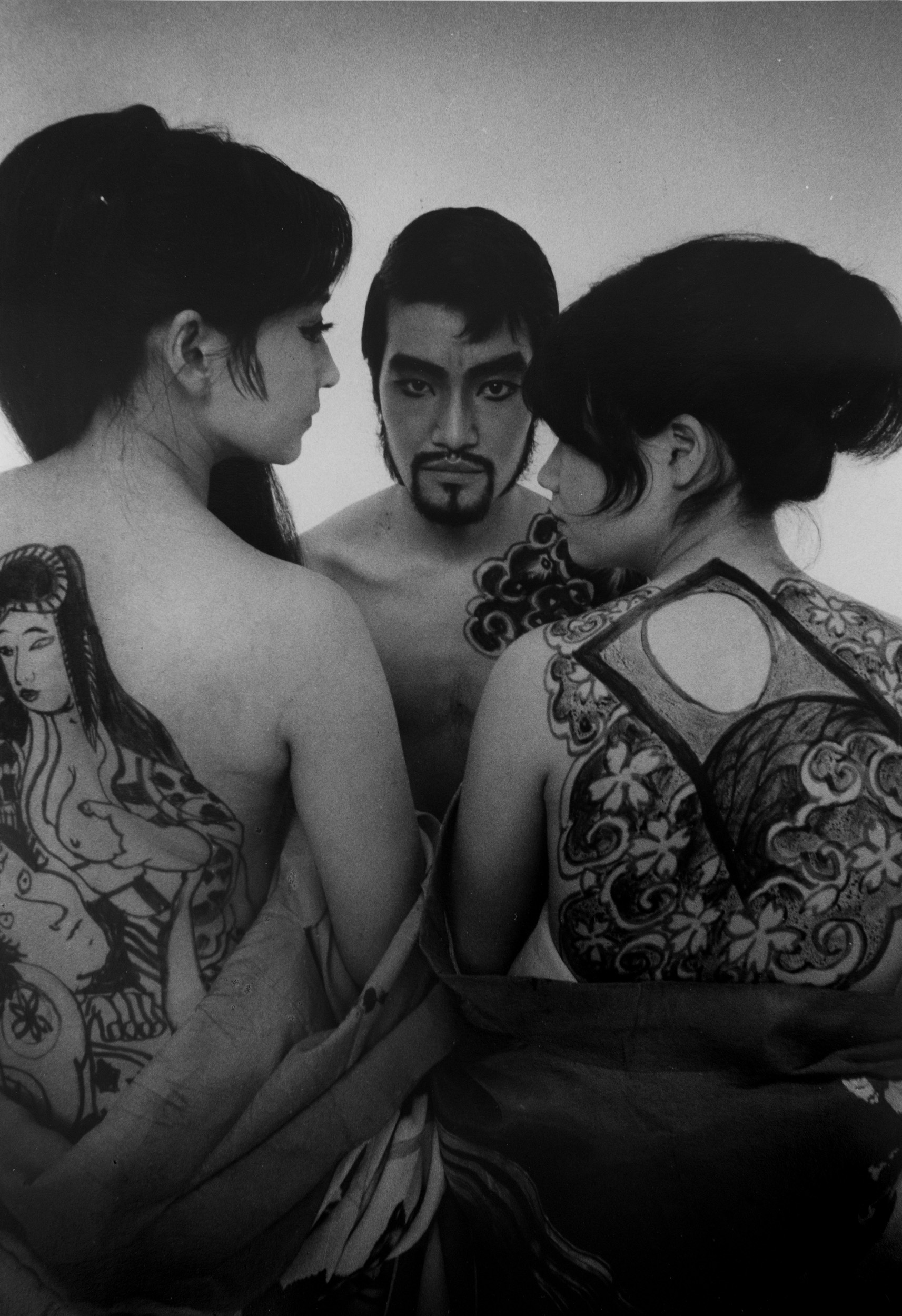 Tenjo Sajiki theater group, 1968 (drawings on womens backs and man)