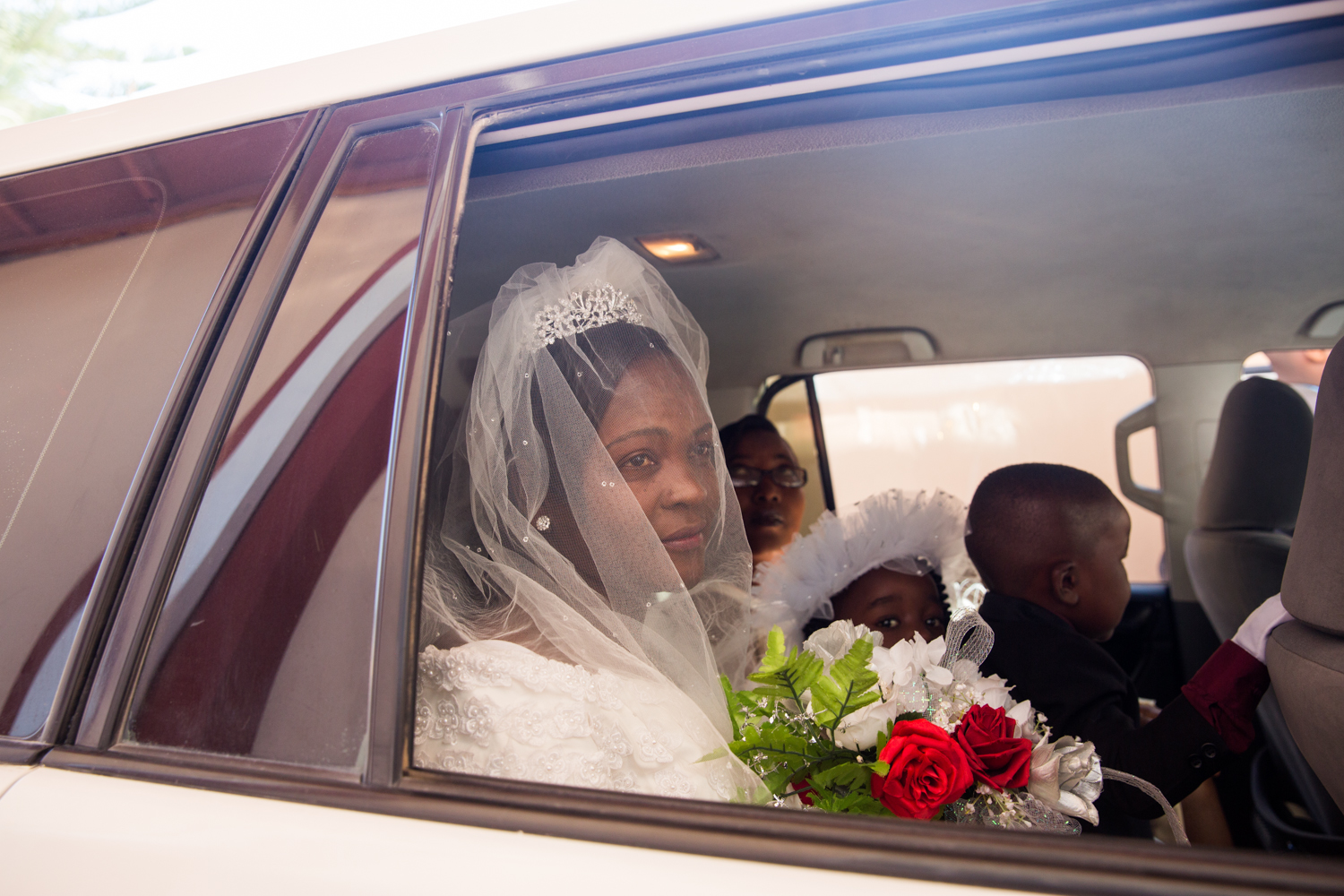 Lucia Janvier arriving at the Church sur le Rocher on her wedding day in Tabarre, Haiti.