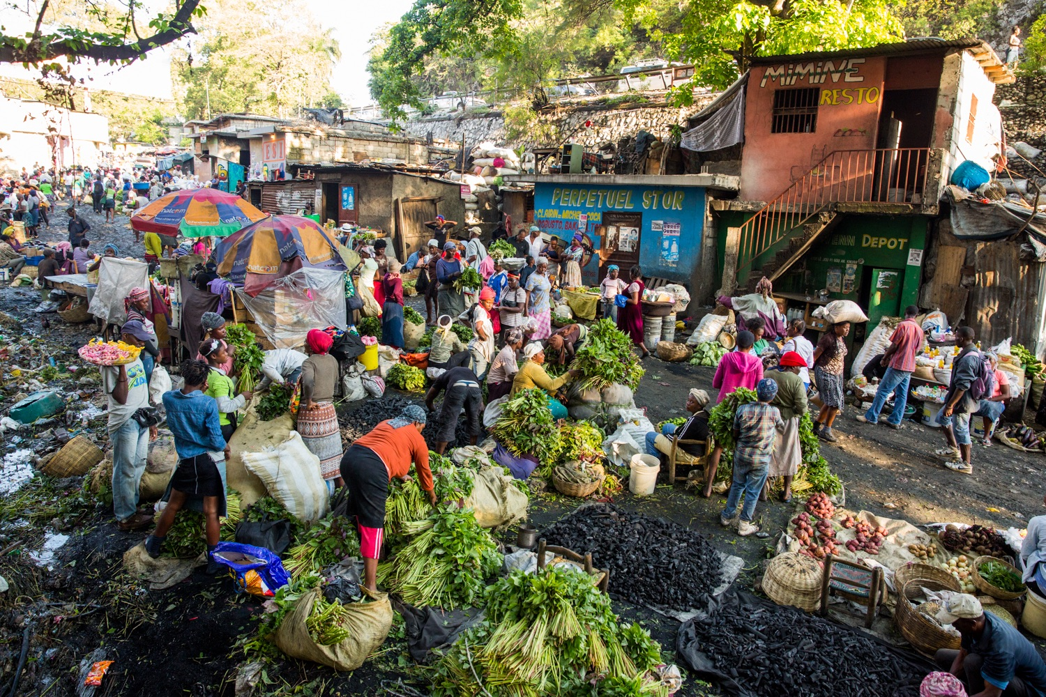 A food market in Pelerin 2, a neighborhood in Petion-Ville, Port-au- Prince.