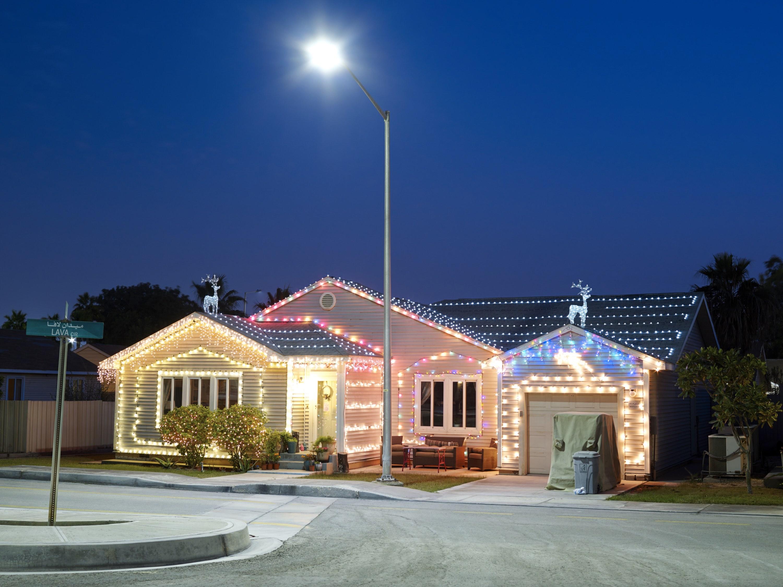 Christmas lights at Lava Circle.
