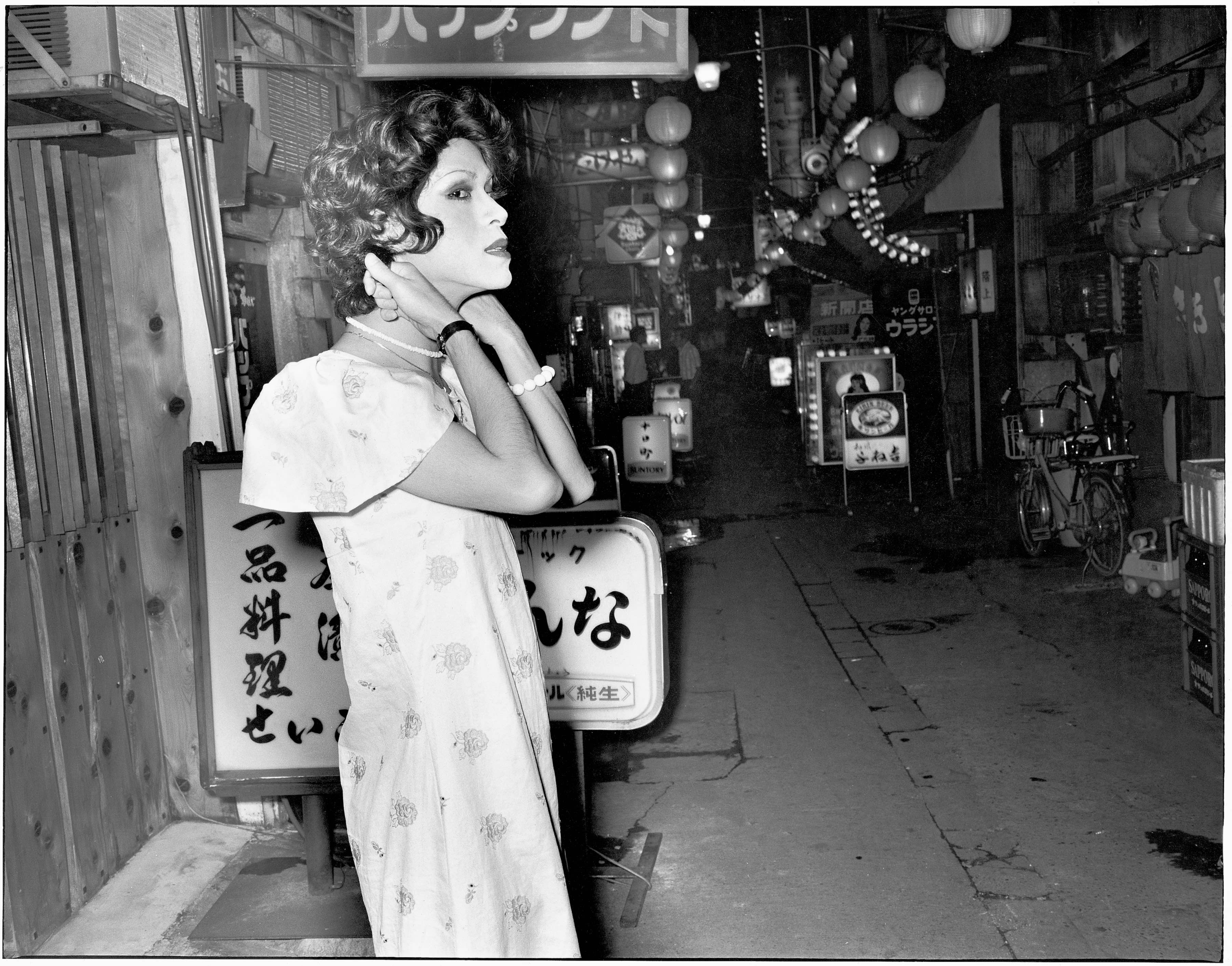 Even though there's no sign of any customers... near Ikebukuro, Hikarimachi Ohashi, 1975. From the series Flash Up, 1975 -1979 Collection of Mark Pearson, Zen Foto Gallery