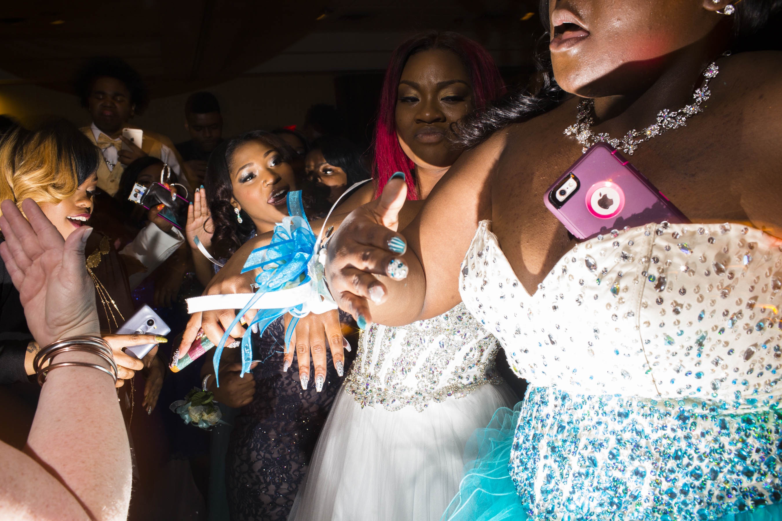 Students dance at the high school prom on Saturday, May 21, 2016 in Flint, Michigan.