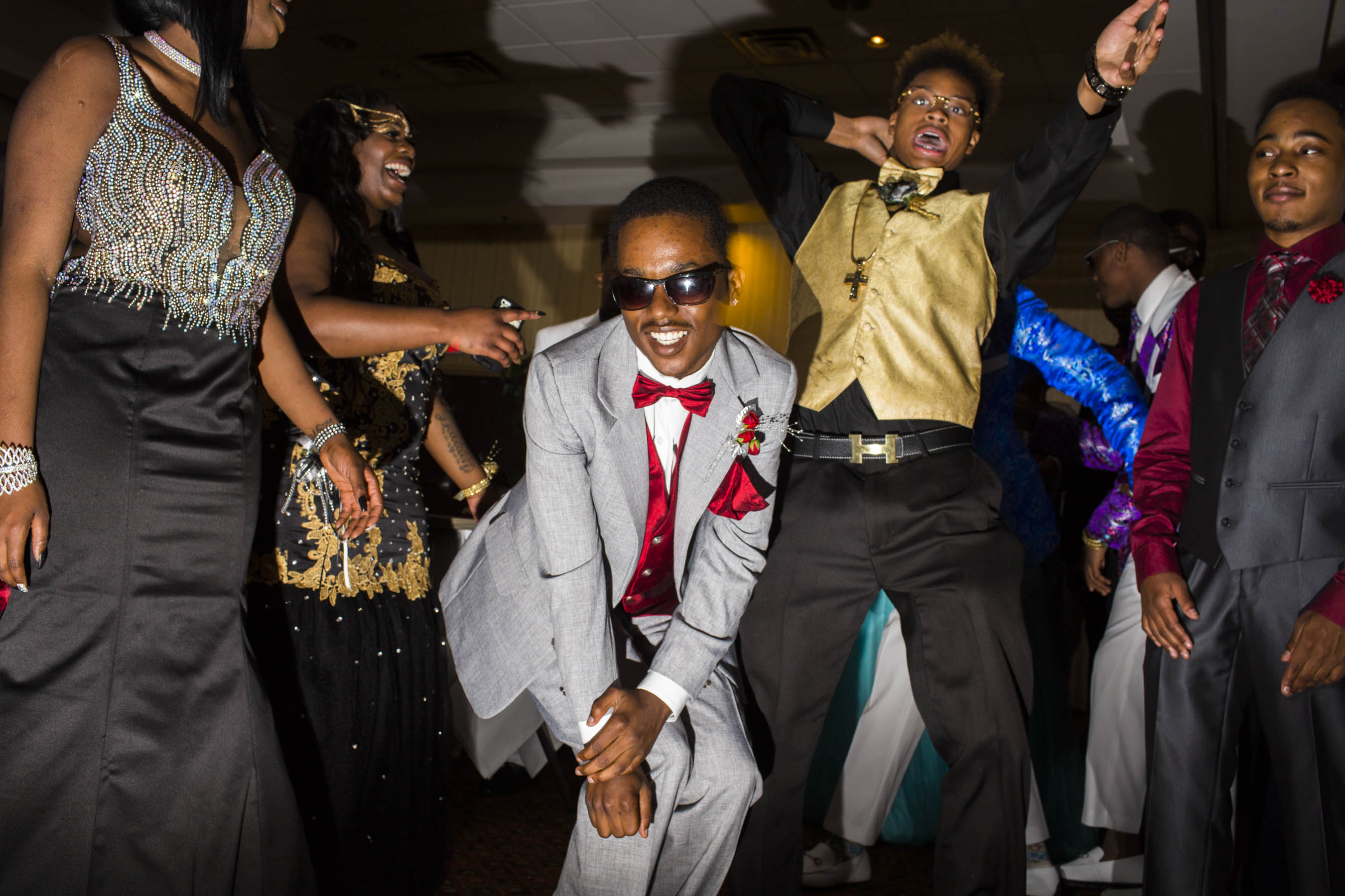 Unidentified students dance during their high school prom on Saturday, May 21, 2016 in Flint, Michigan.