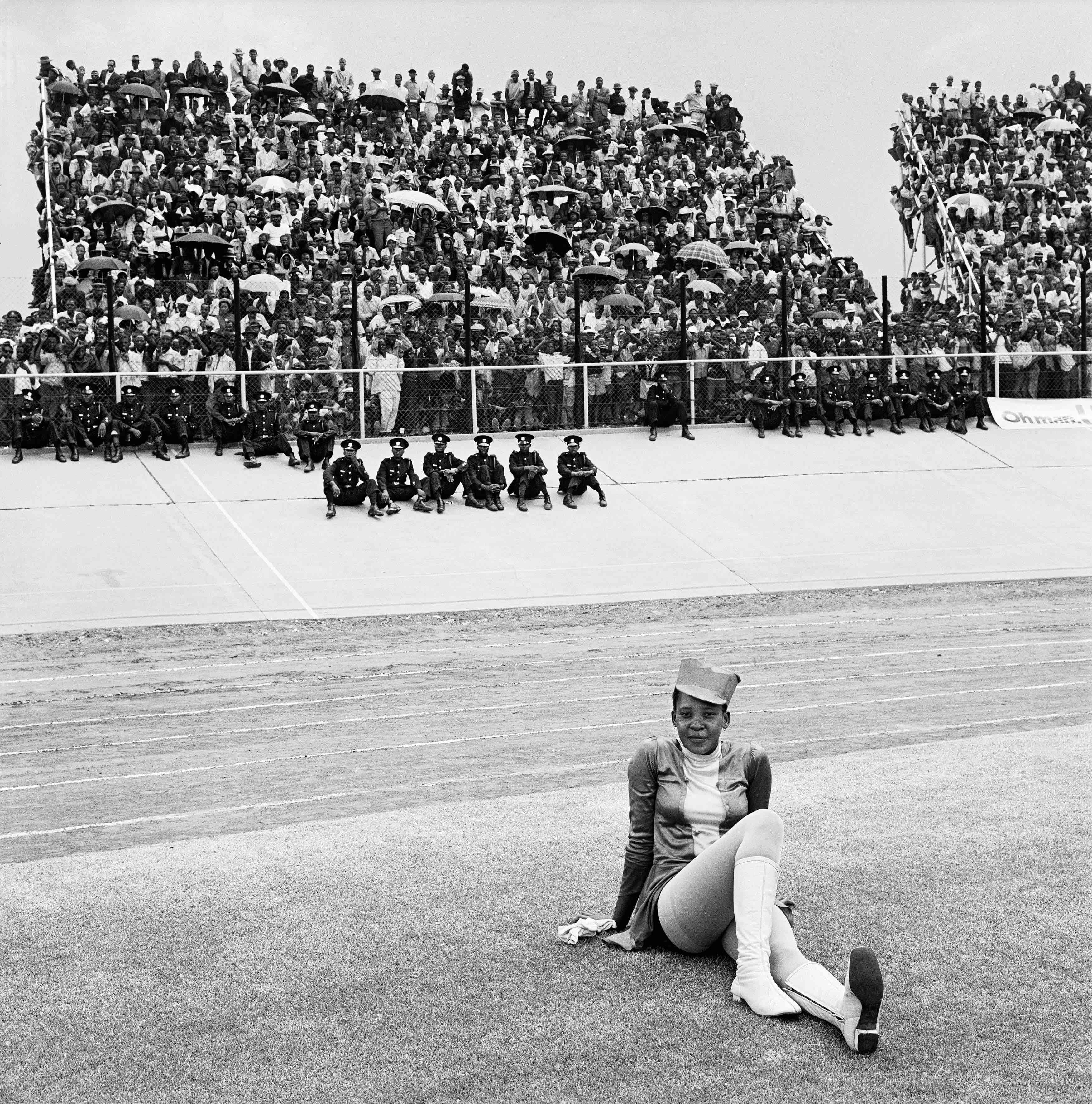 Drum majorette, Cup final, Orlando Stadium, Soweto. 1972.
