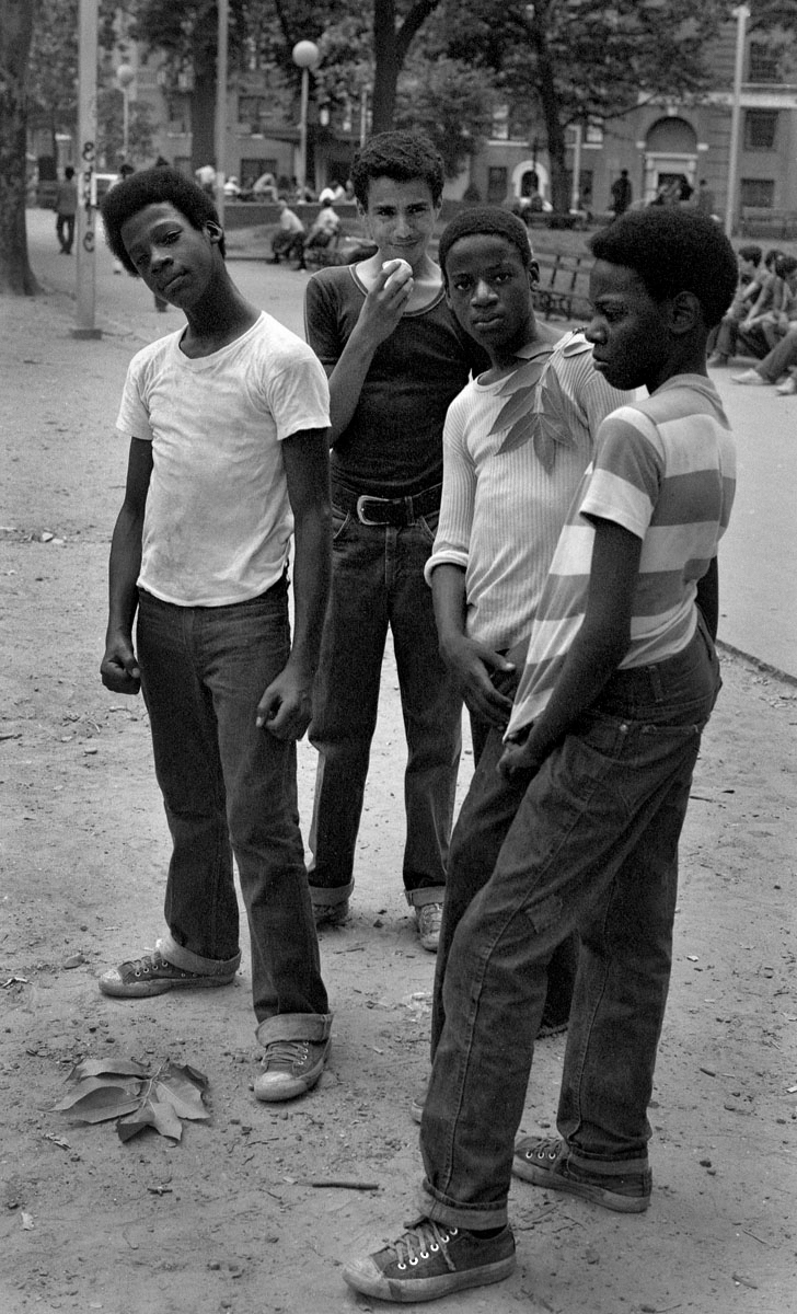 Four boys in NYC park, 1972