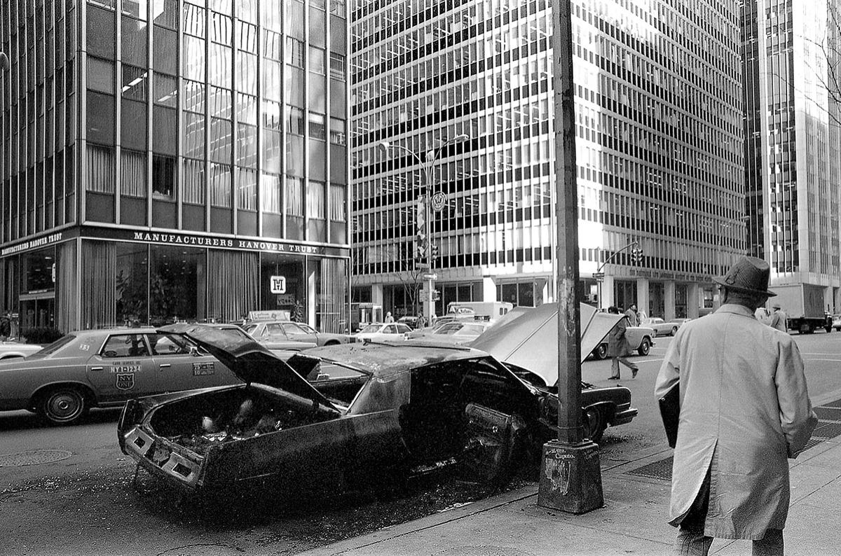 Burnt out Car on NYC Street, 1970's