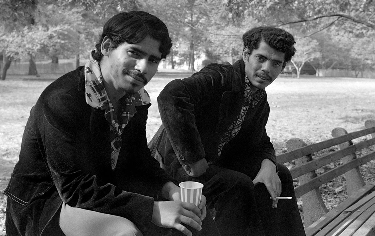 Young Men Sitting on Bench in NYC, 1973