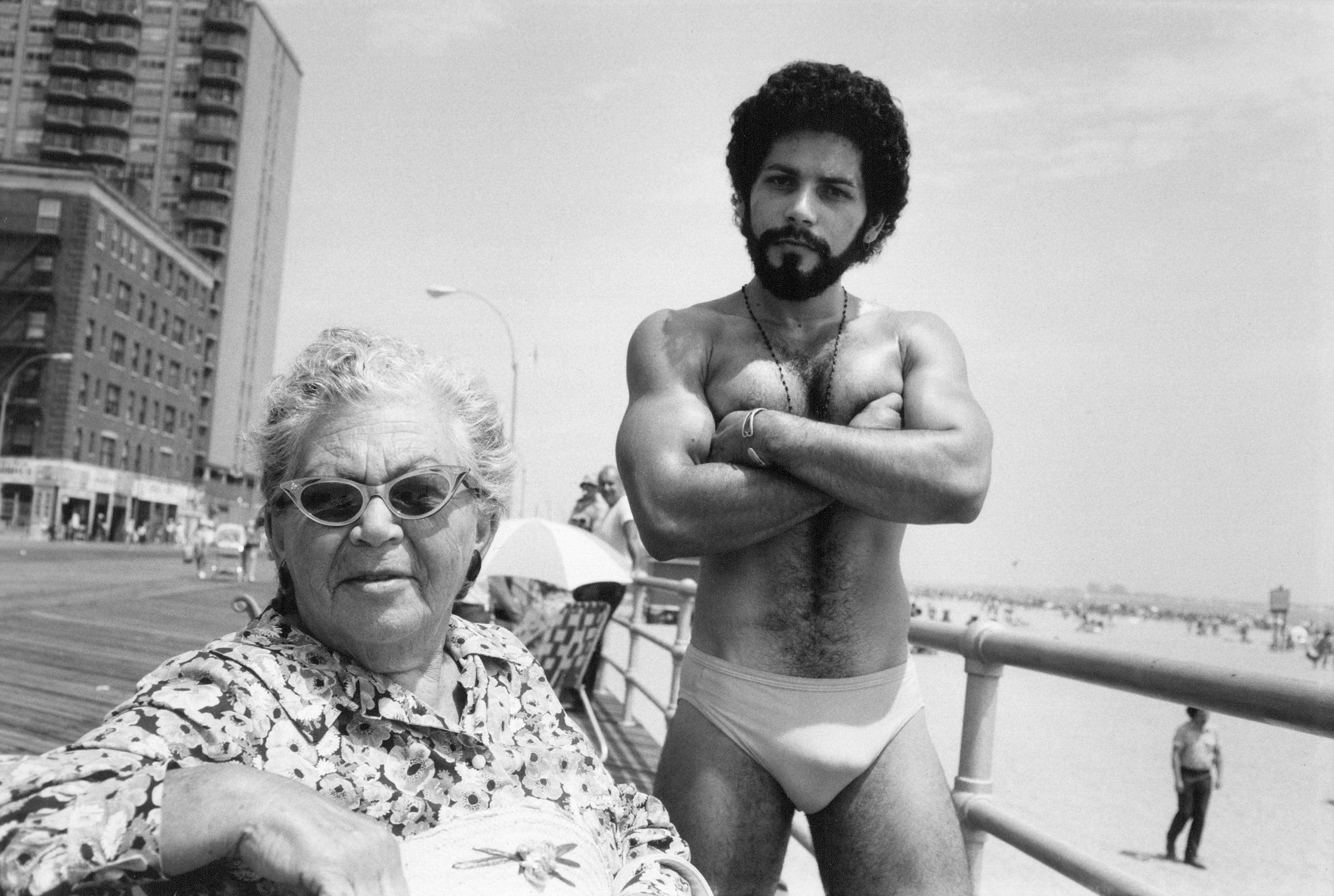Angel and Woman on Boardwalk in Brighton Beach, 1976