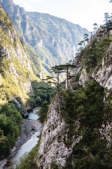 What remains of the Piva River below the Mratinje Dam in Montenegro.