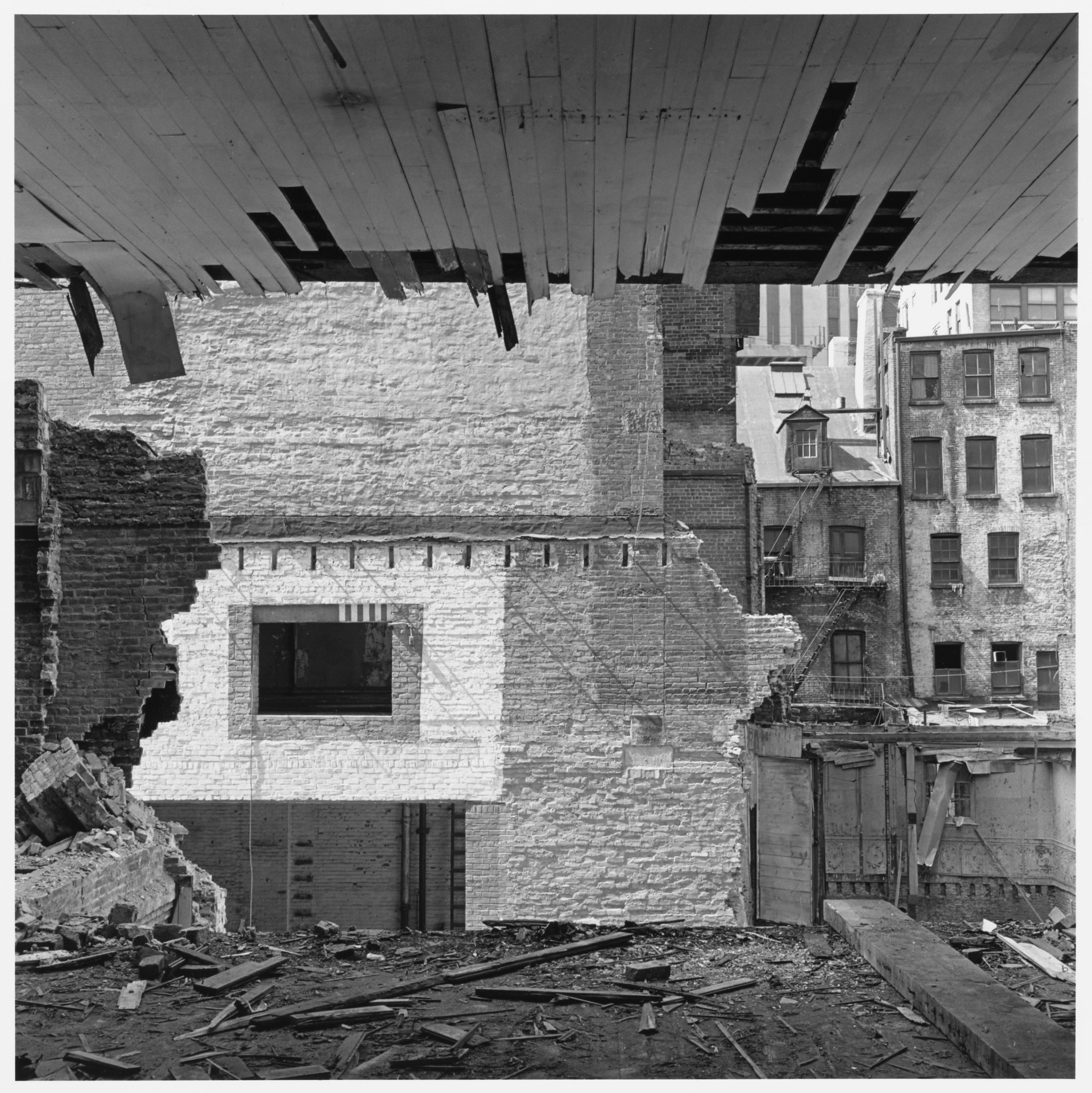View through the rear wall, 89 Beekman Street, 1966–67. The Cleveland Museum of Art, Gift of George Stephanopoulos,