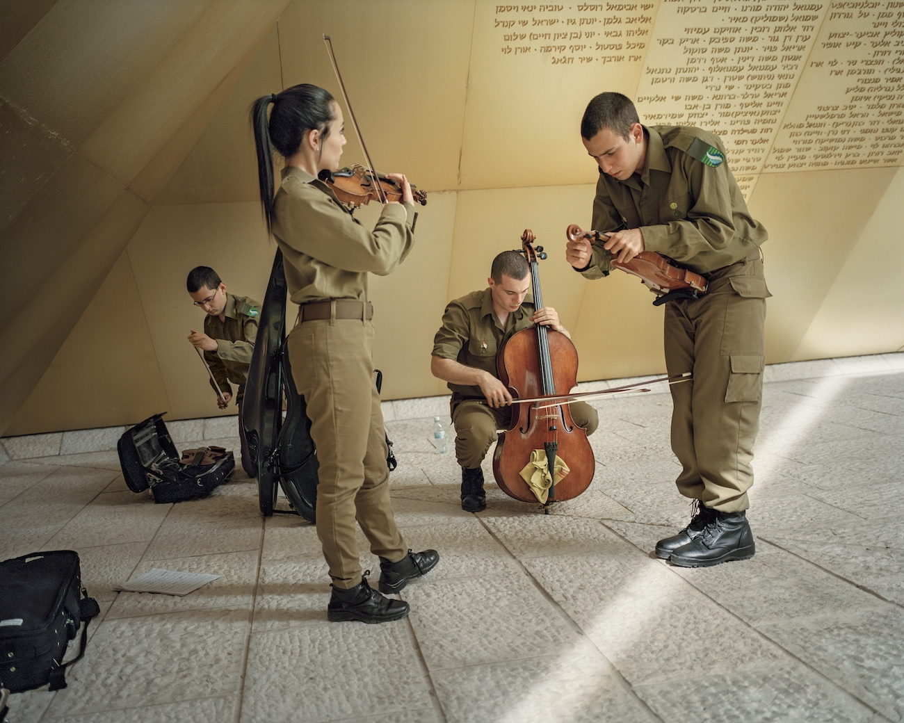 April 30, 2017. Jerusalem, Israel. On the day before the Memorial Day for the Fallen Israeli Soldiers and Victims of Terrorism, Yom Hazikaron, army musicians prepare for a performance.