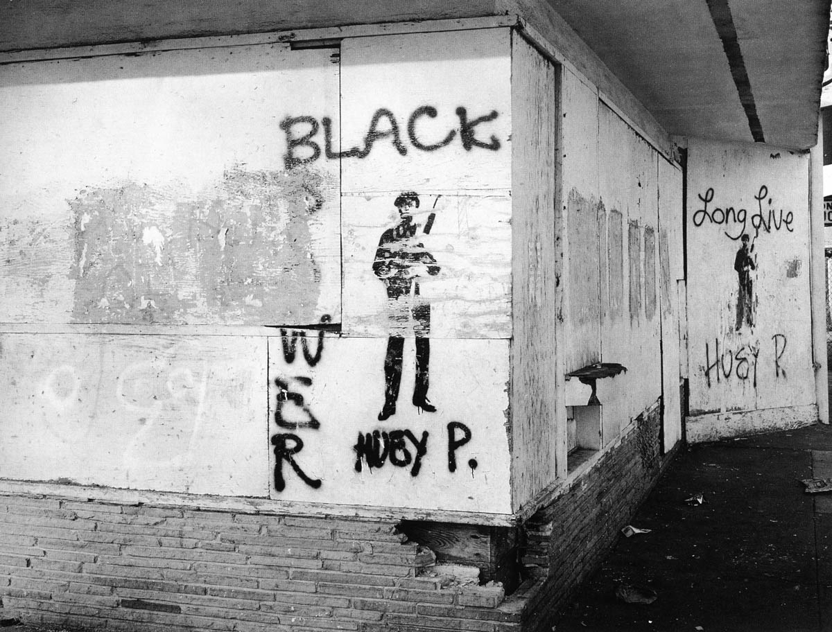 """Lewis Watts, Graffiti, West Oakland, 1993, courtesy of the photographer,from """"All Power: Visual Legacies of the Black Panther Party,"""" PCNW 2018"""