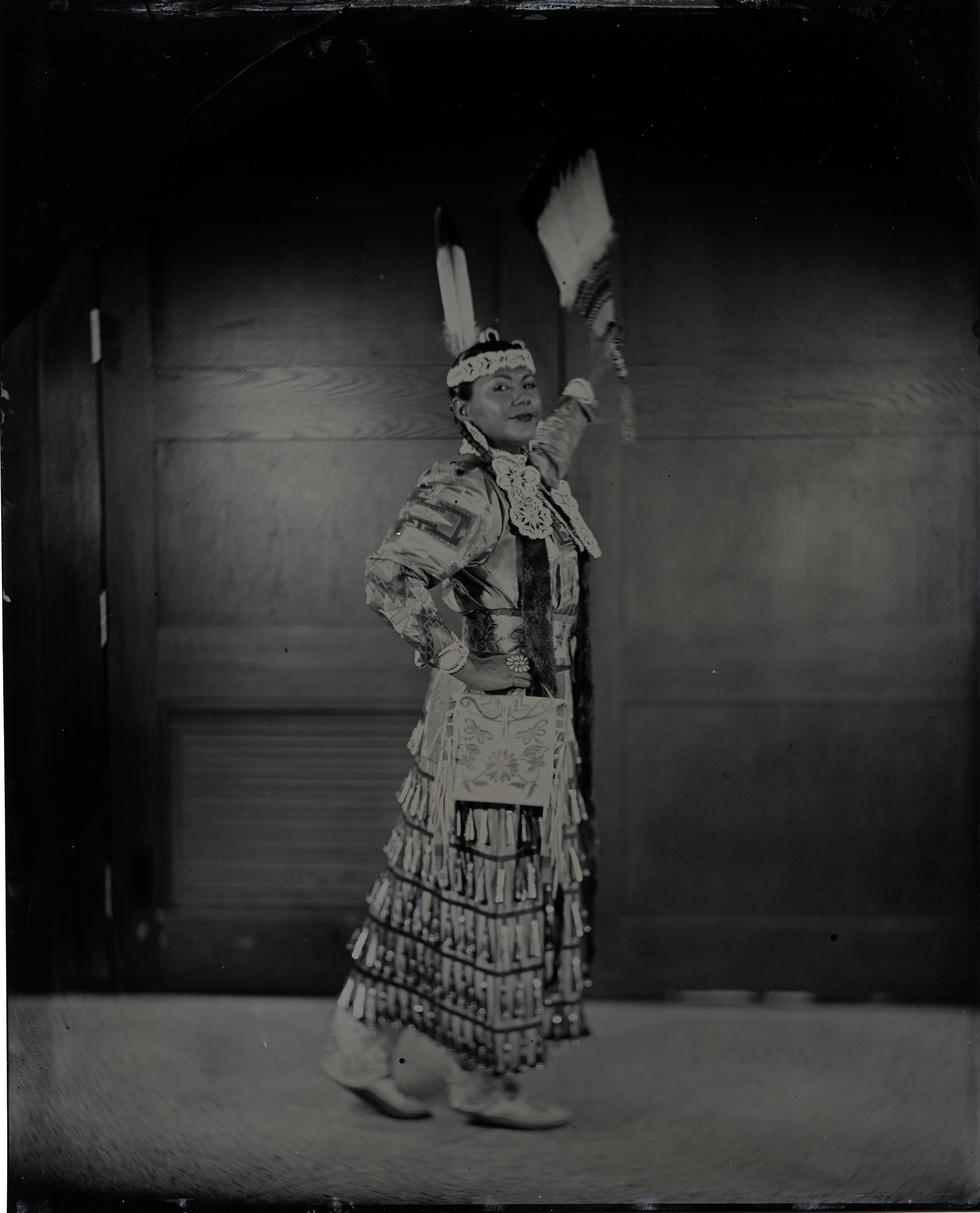 Talking Tintype, Madrienne Salgado, Jingle Dress Dancer/Government and Public Relations Manager for the Muckleshoot Indian Tribe, Citizen of the Muckleshoot Nation, 2017, from the series Critical Indigenous Photographic Exchange, Will Willson.