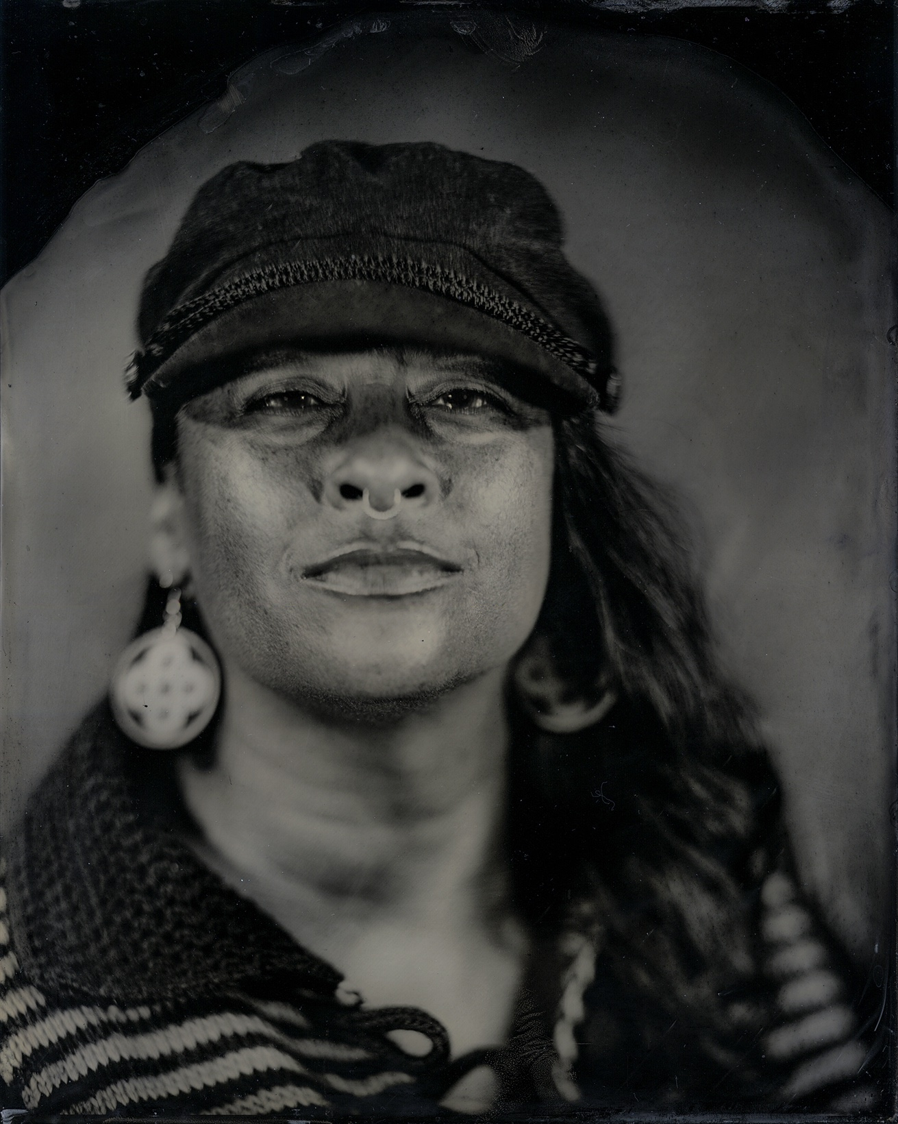Talking Tintype, Tracy Rector, Artist/Media Activist, Citizen of the Choctaw Nation, 2017, from the series Critical Indigenous Photographic Exchange, Will Willson.
