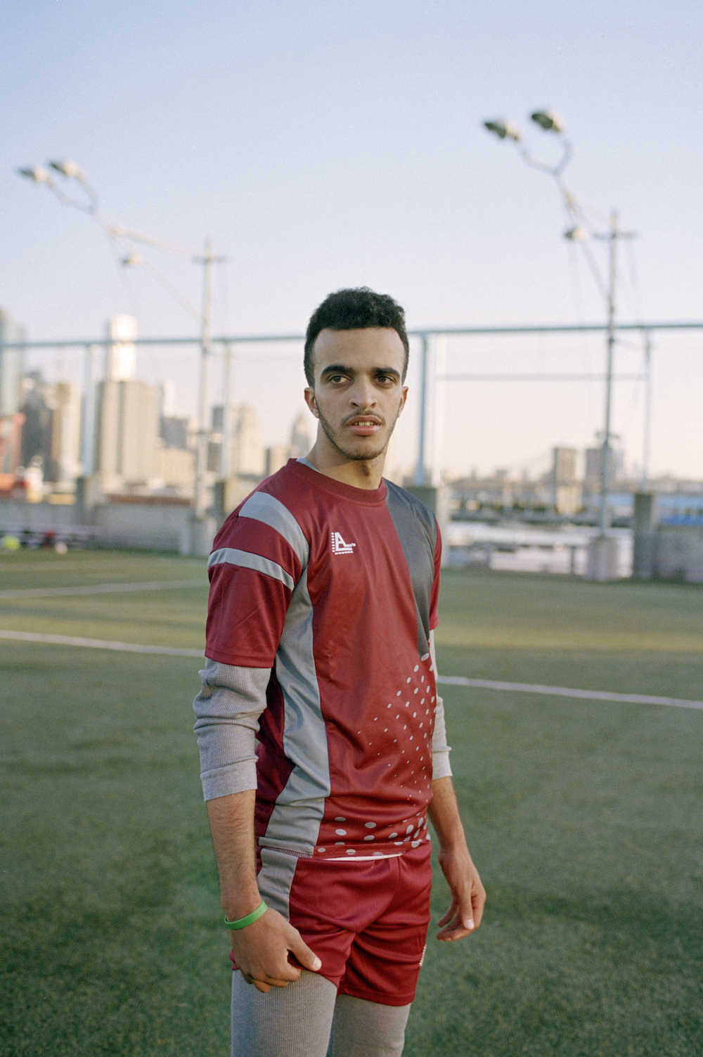 Hamoud Almathil on the field during a training session on an early Saturday morning in Brooklyn, New York.