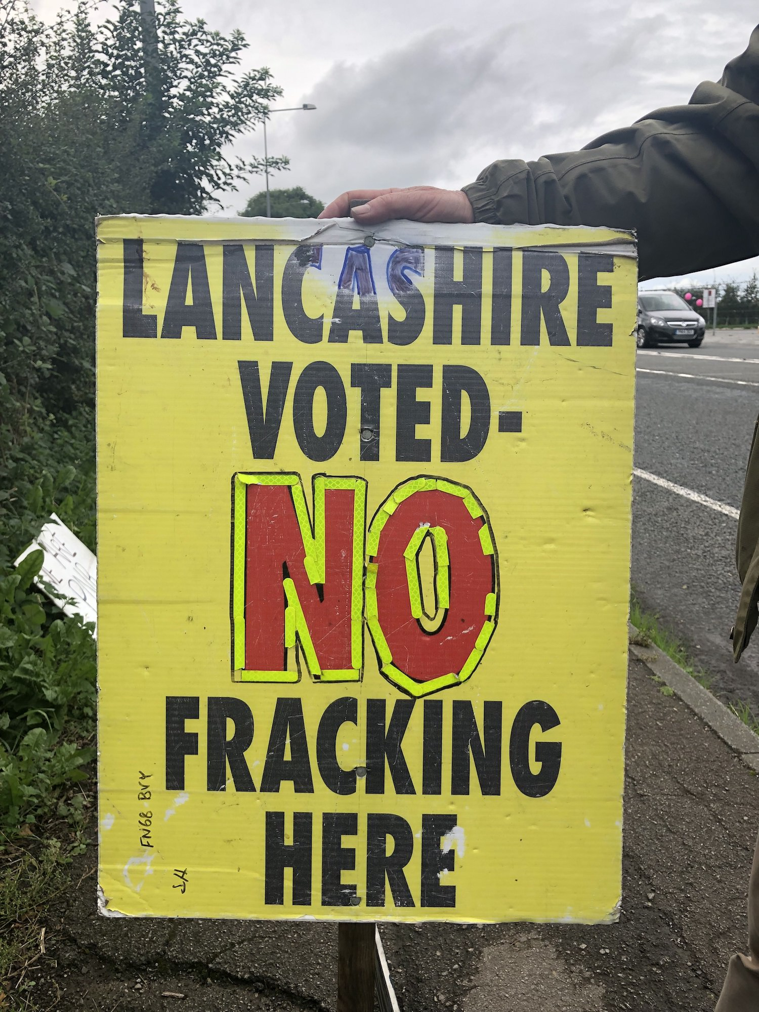 An antifracking protest sign