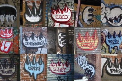 A collage of graffiti tags of a clawed paw on various urban surfaces